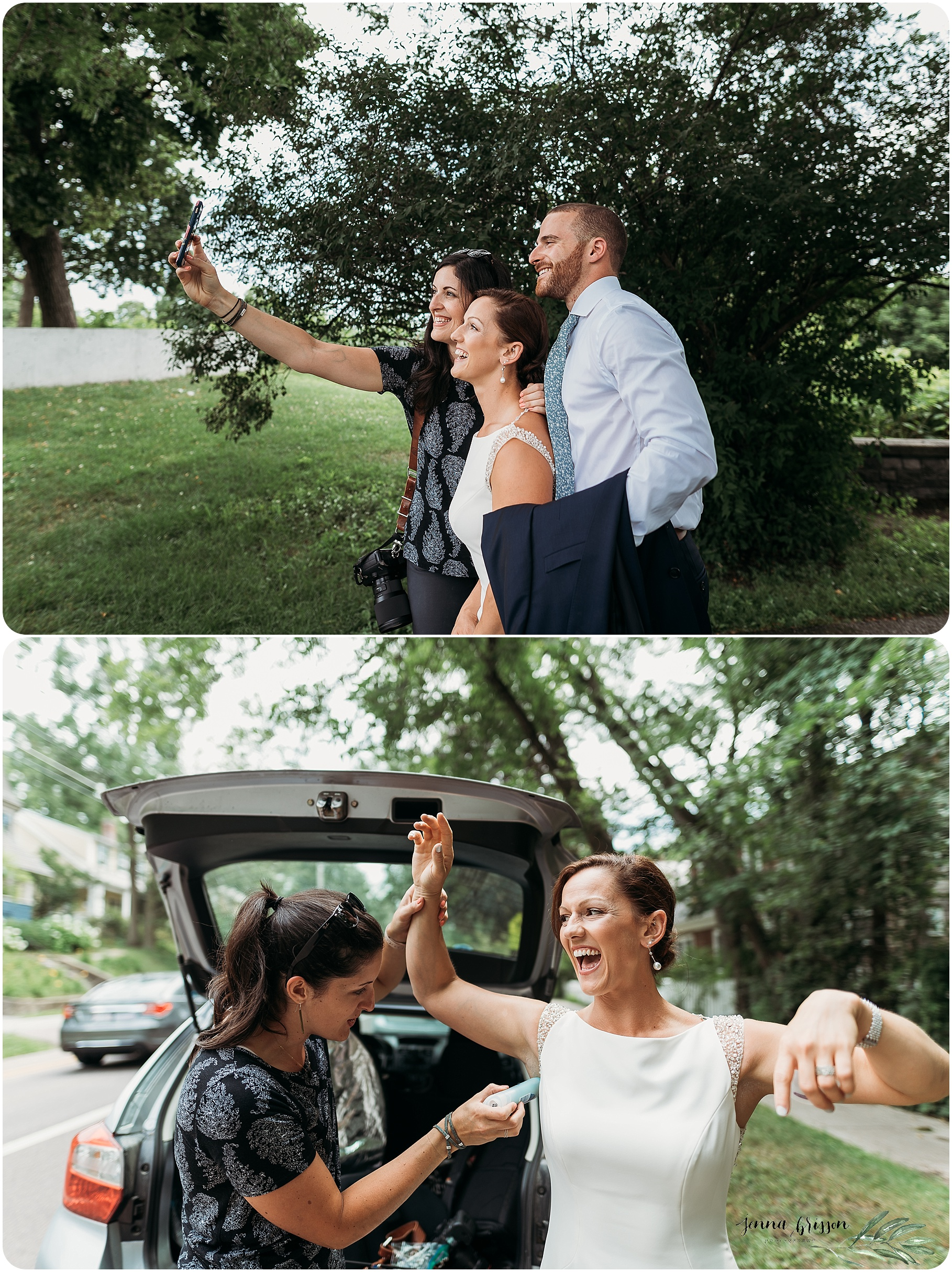 Selfie with the bride and groom -- and me coming in handy with some last minute deo help! Thanks to Arielle Thomas for the photos <3