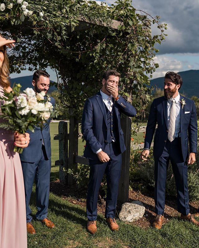 "I'm pretty sure I teared up right along with Matt watching his reaction as Ashleigh walked down the aisle 😭💕 It was the best. Swipe for a preview, and better yet — their @mountaintopresort wedding is up on the blog tonight 😍  Click the link in my IG profile, then ""latest blog post"" to view 🤗  Shoutout to @dallendorfphoto for crushinggggg it as the second photog that day 💜💜 . . . #cappilyeverafter #btvweddings #vermontweddings #vermontweddingphotography  #vtweddingphotographer #vtweddings #weddingday #weddingmoments #weddingceremony  #shesaidyes #weddinginspo #loveauthentic #junebugweddings #radlovestories #firstsandlasts #newenglandweddingphotographer  #couplesphotography #engagementsession #muchlove_ig #authenticlovemag #junebugweddings #weddinglegends #weddingphotomag #mountaintopinnandresort"