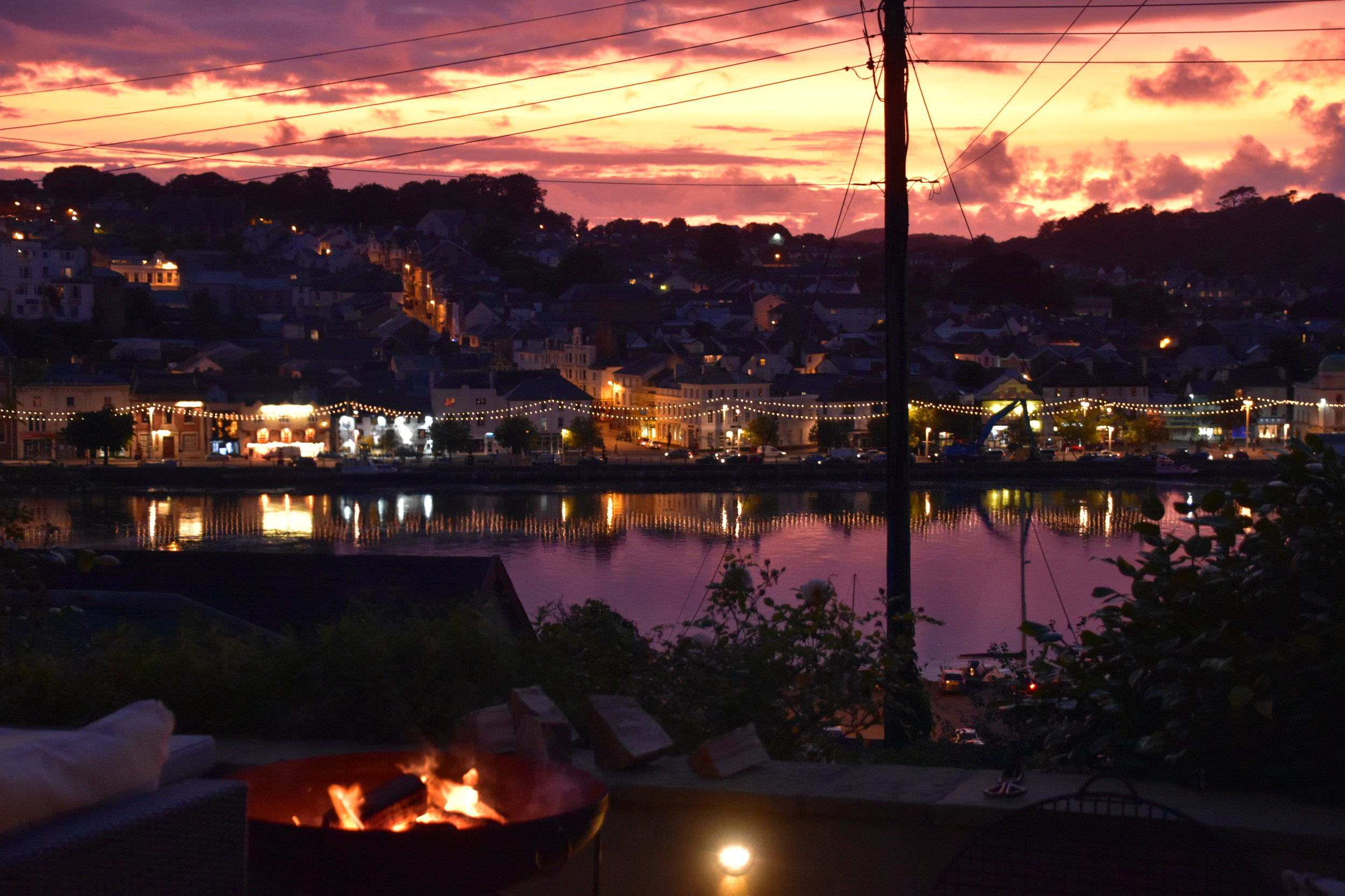 Evening view over Bideford from the terrace
