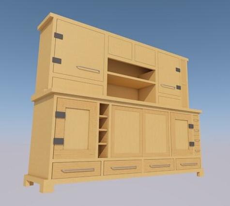 Nafisi Studio computer sketch of kitchen side dresser
