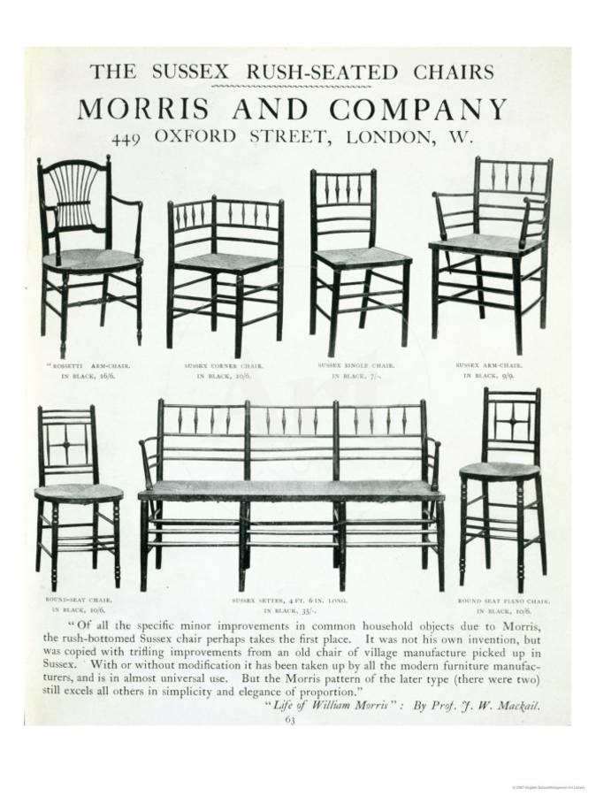An advertisement for the Morris & Co chair collection c 1900
