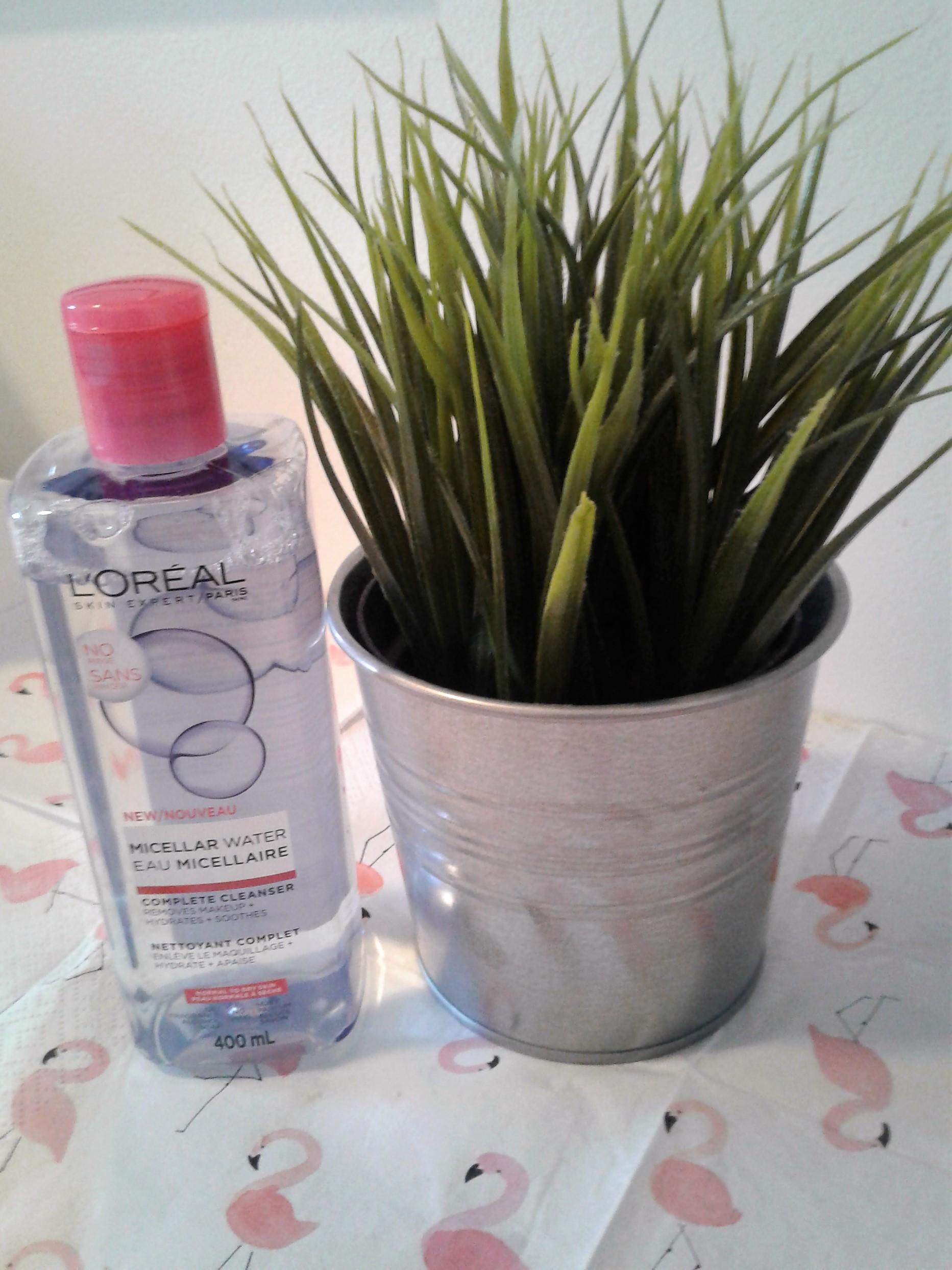 Eau micellaire de l'Oréal : Nettoyant complet- enlève le maquillage, hydrate et apaise- sans huile, sans parfum, sans alcool et sans savon.   Prix; environ 11.99$ pour 400 ml
