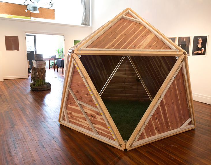 Hut (1v Geodesic Dome) , Exterior view, 2014, 7¼'  x 7¾', pine struts, cedar planks, starplates, sod, foam, headphones, MP3 player, audio recordings from day and night near Monocacy River.