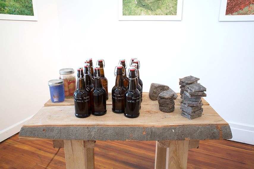 Show take-aways/donation table for Sediment. Mead and river soap made in the Pollak studios at VCU. Pressure  canned photographs.