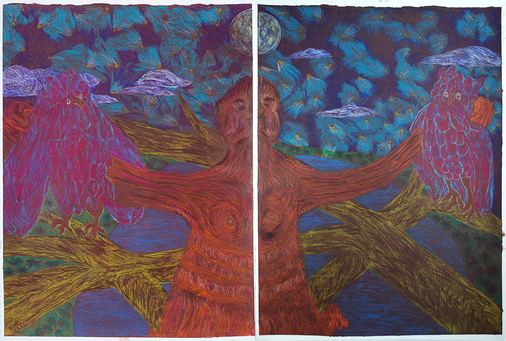 """In Supplications Superflous   colored pencil and acrylic on two sheets of paper  30""""x44"""""""