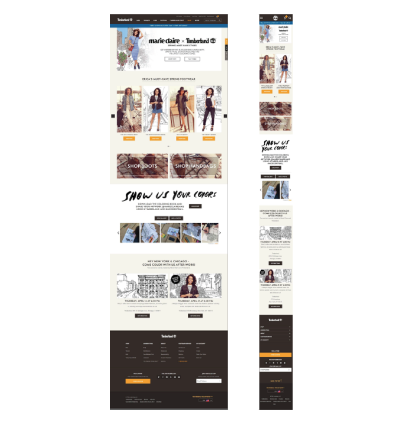 Timberland - A Few Desktop and Mobile Layout Examples
