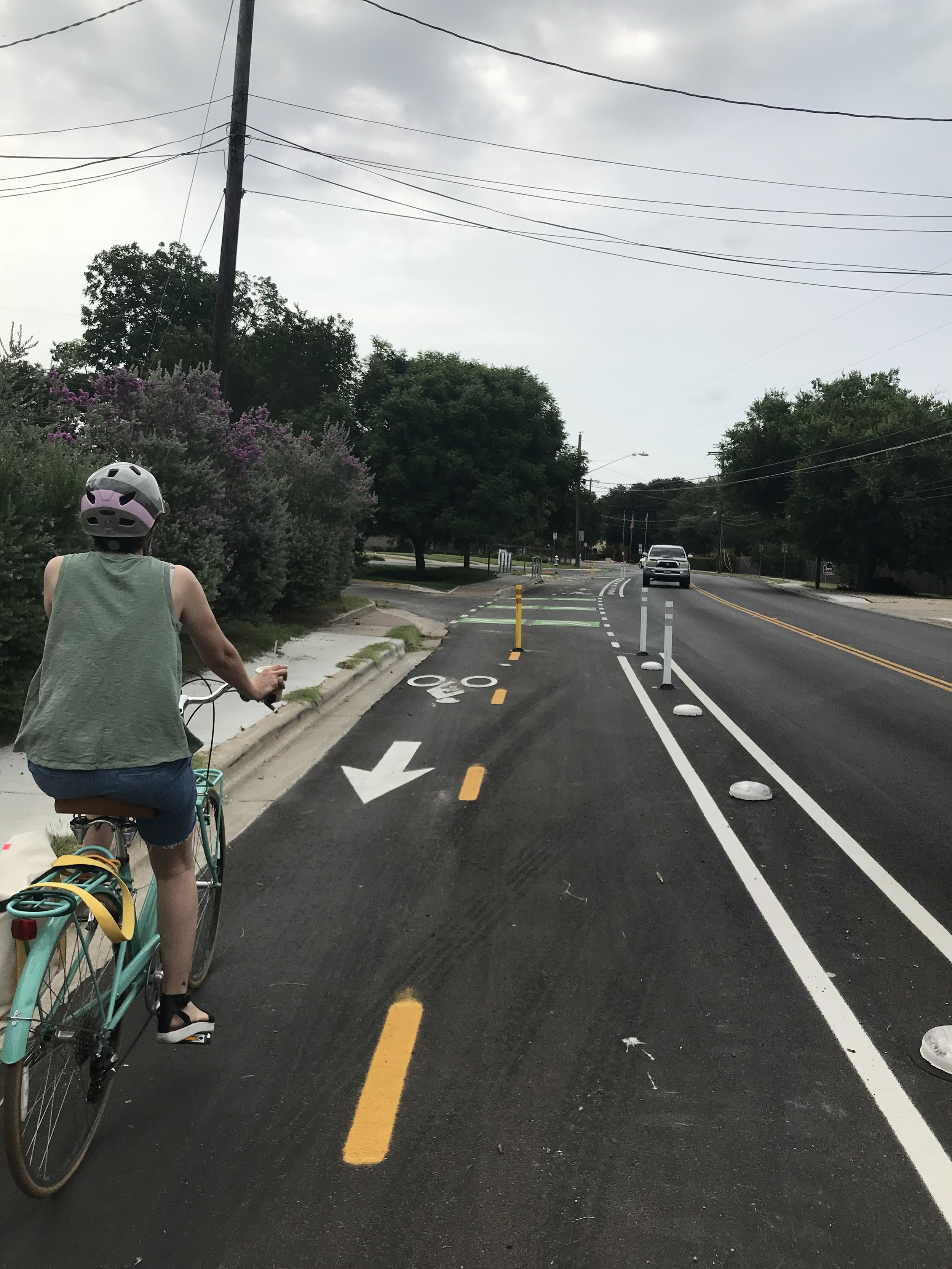 Justin Lane bike lane - Brand spankin' new and easy to navigate. Hopefully this will be a part of a more comprehensive network through the City.