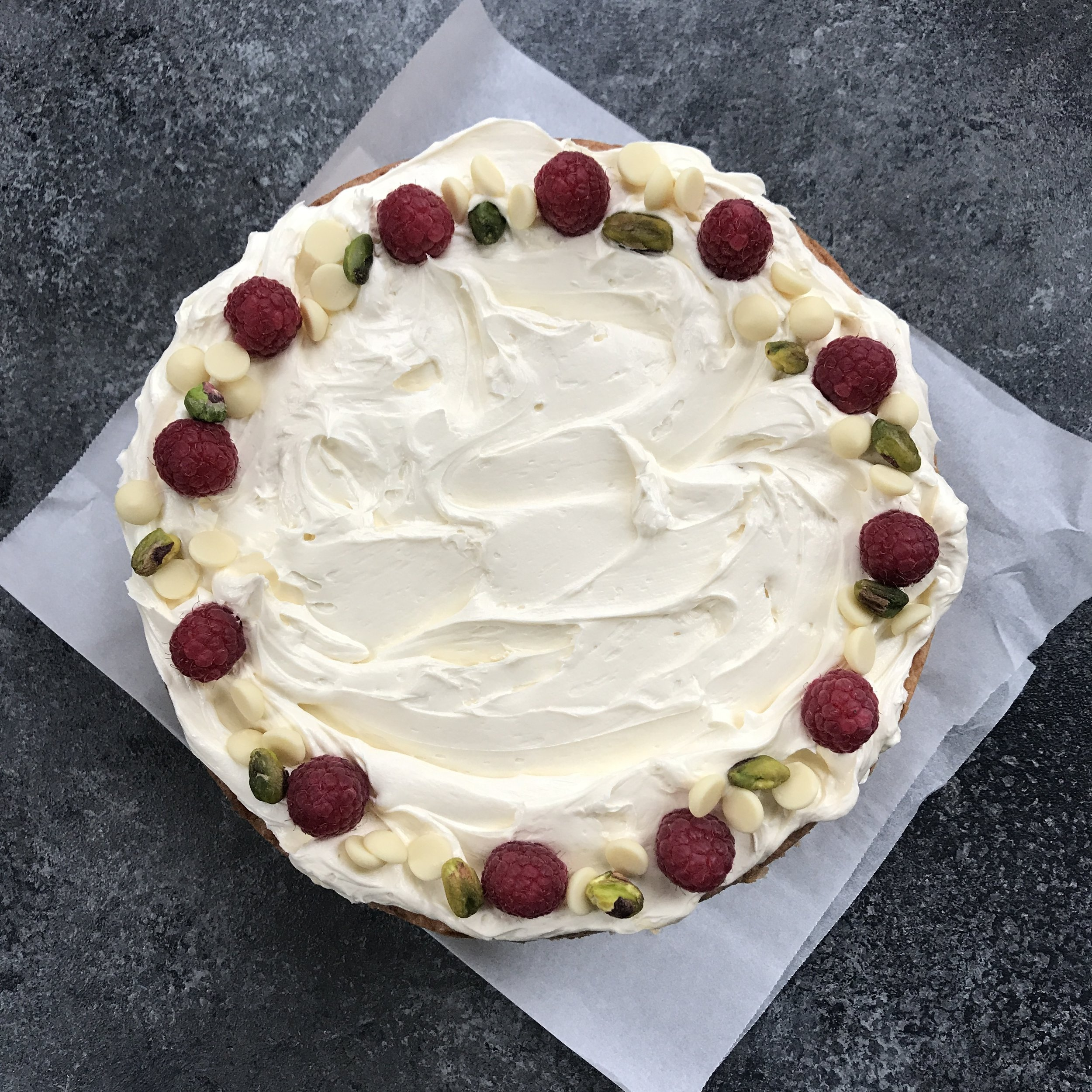 Raspberry, Pistachio & White Chocolate Classic Cake  £40.00