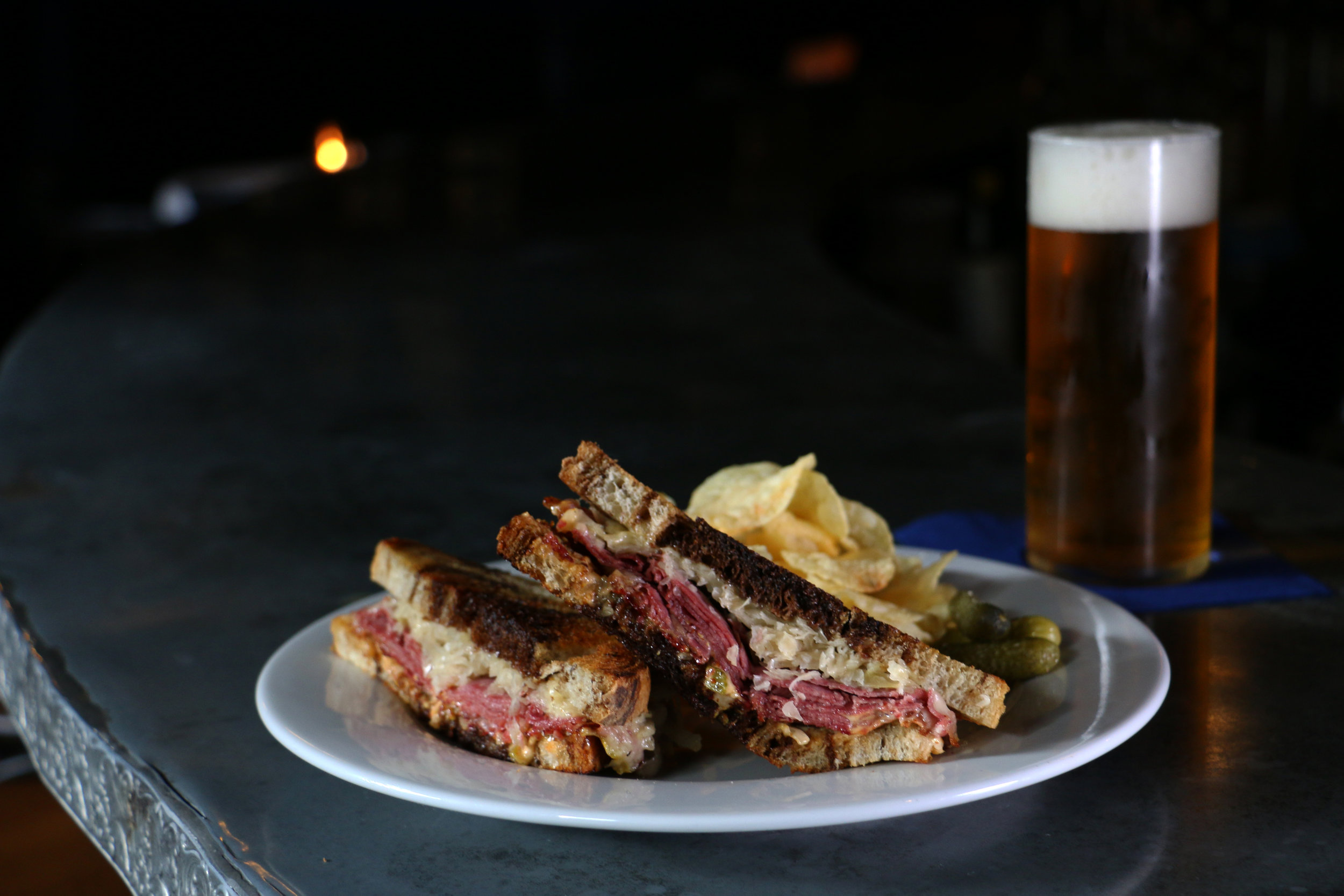 House Corned Beef Sandwich & Guinness Blonde