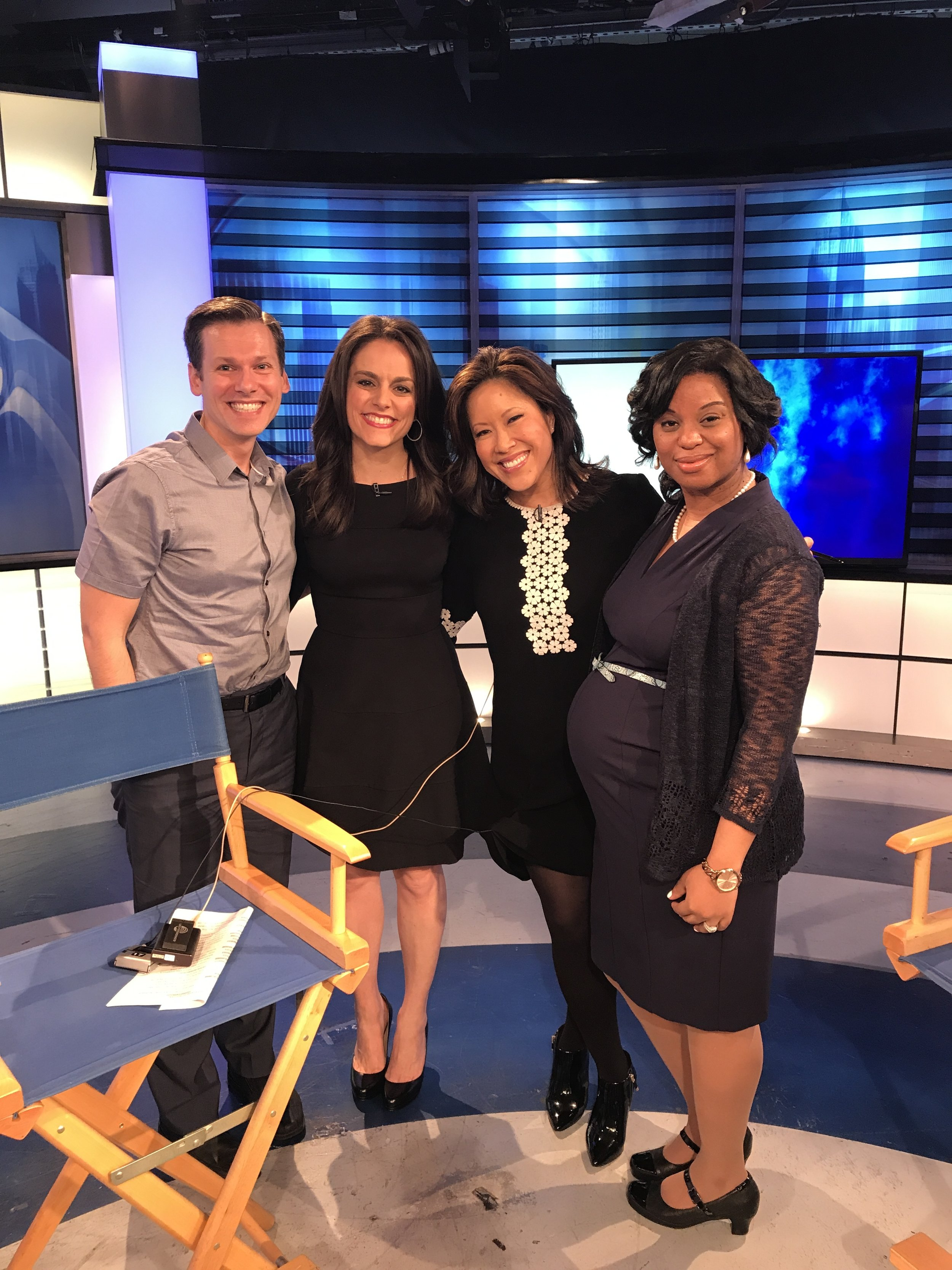 CBS 2 New York Anchors Andrea Grymes and Cindy Hsu with America's Most Amazing Nurse Finalists Billy Rosa and Daniella Casimir. National Nurses Day, 2017.