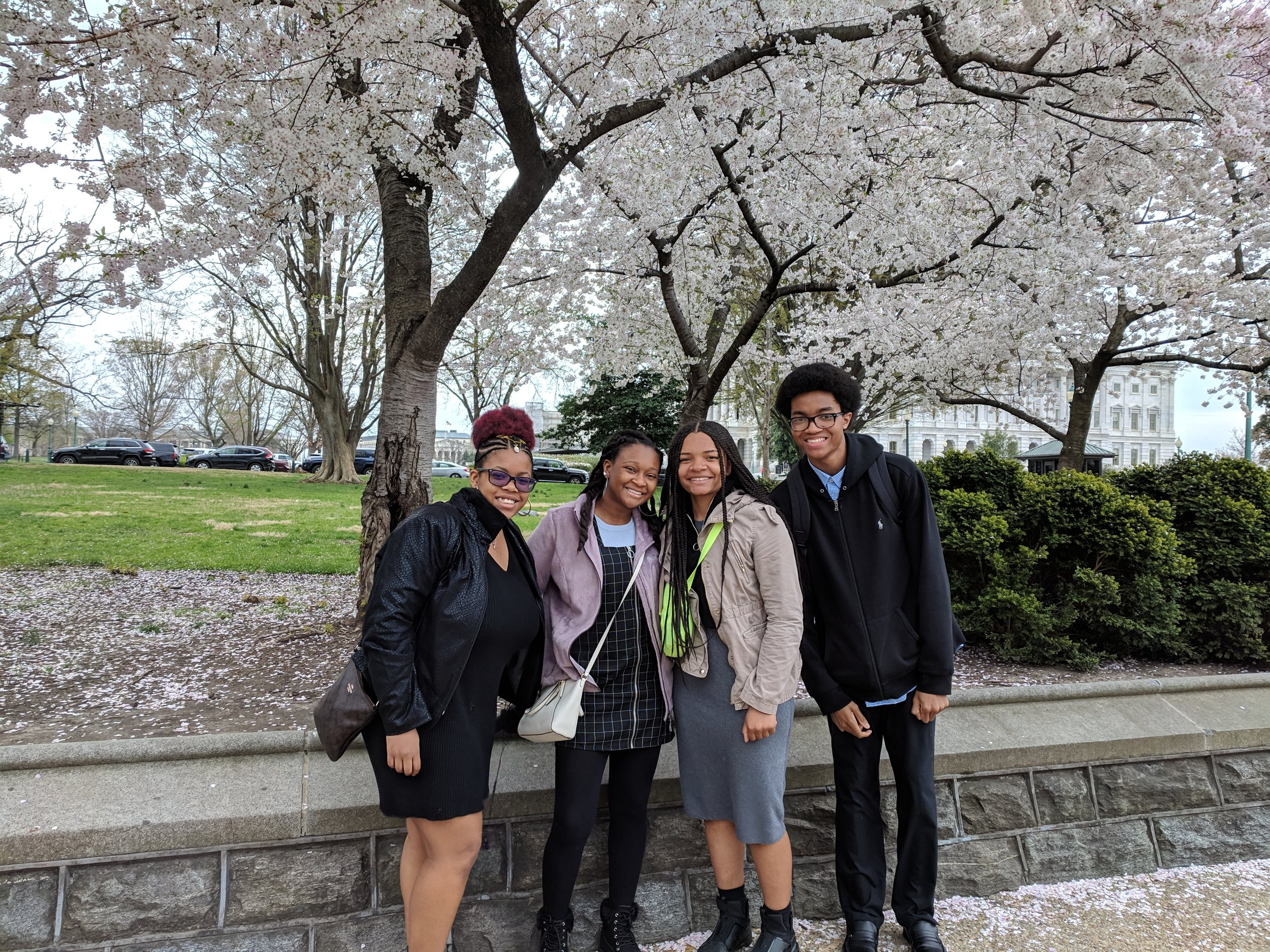 2018-2019 Grand Prize winners enjoy the beautiful cherry blossom trees in DC.