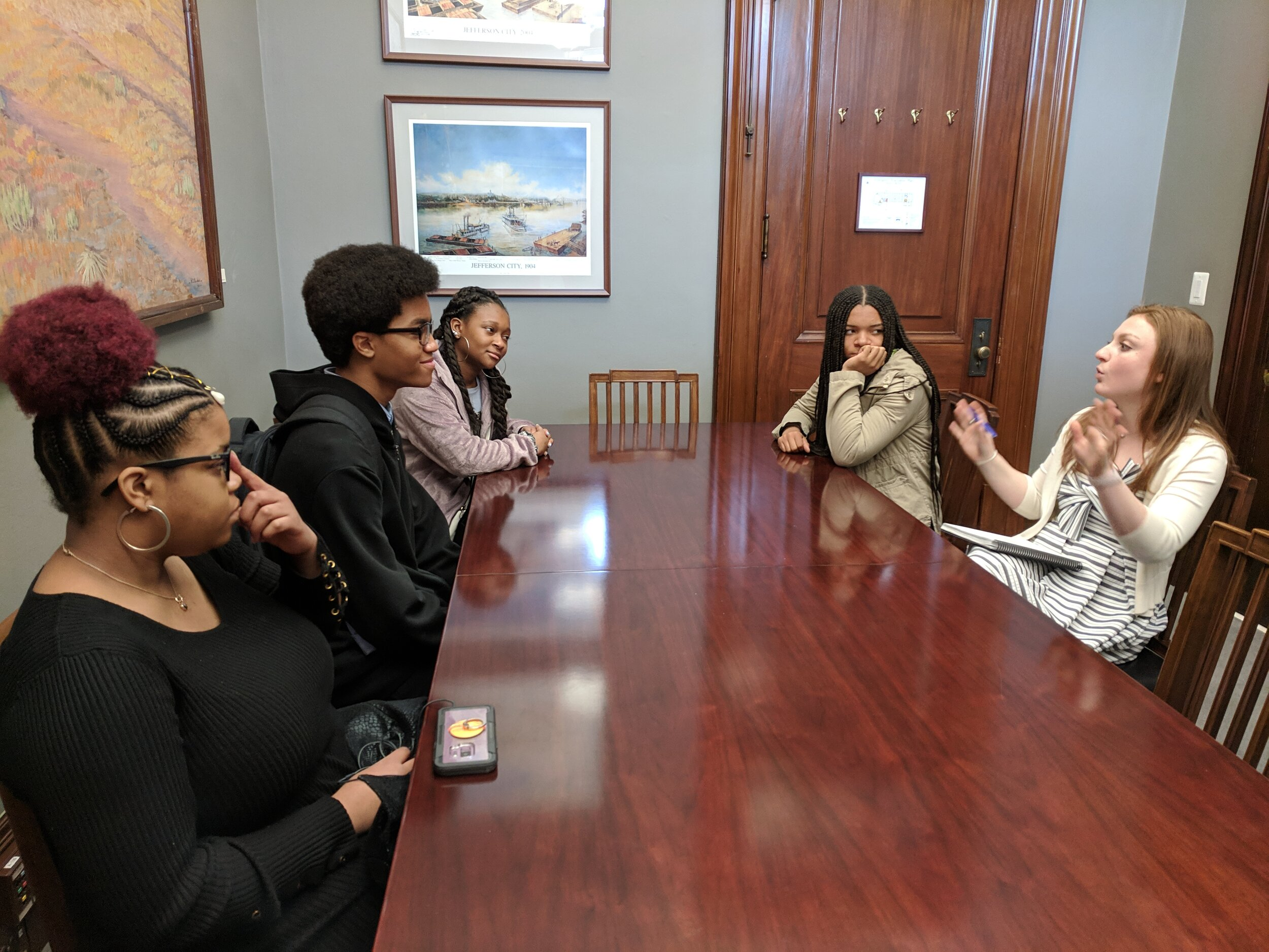 Students met with staff of Senator Roy Blunt to discuss education, health and other issues.