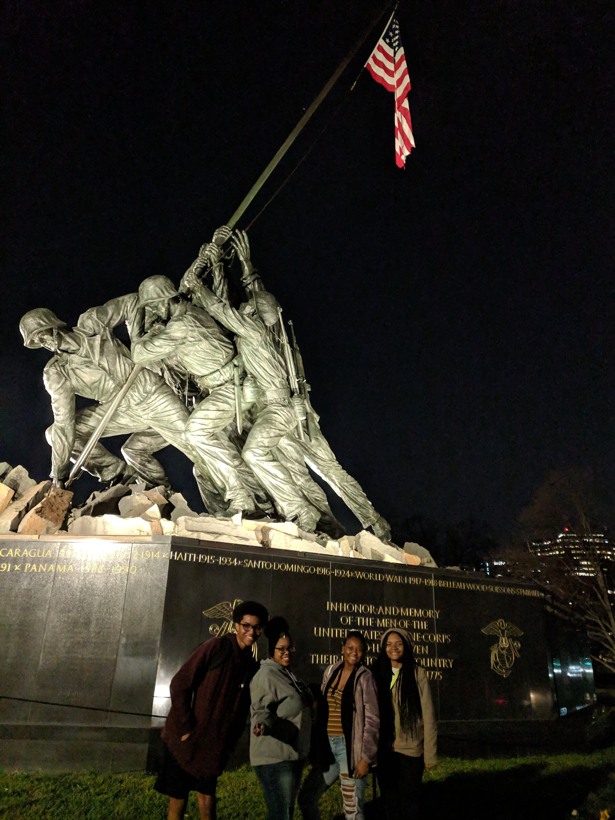 2018-2019 Grand Prize winners standing in front of the US Marine Corps War Memorial.