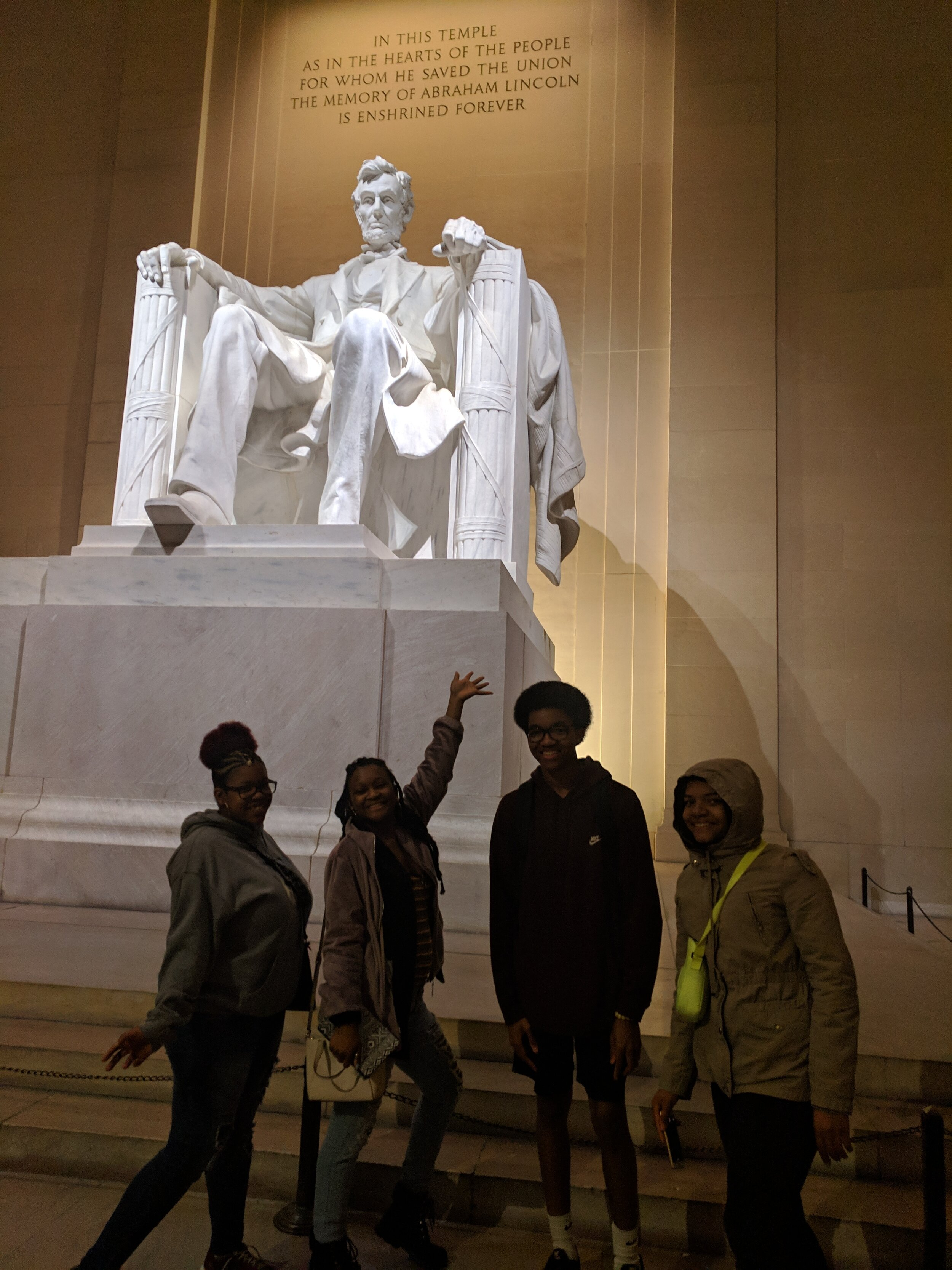 Grand Prize Winners 2018-2019 enjoying the DC Night Monument tour at the Lincoln Memorial.