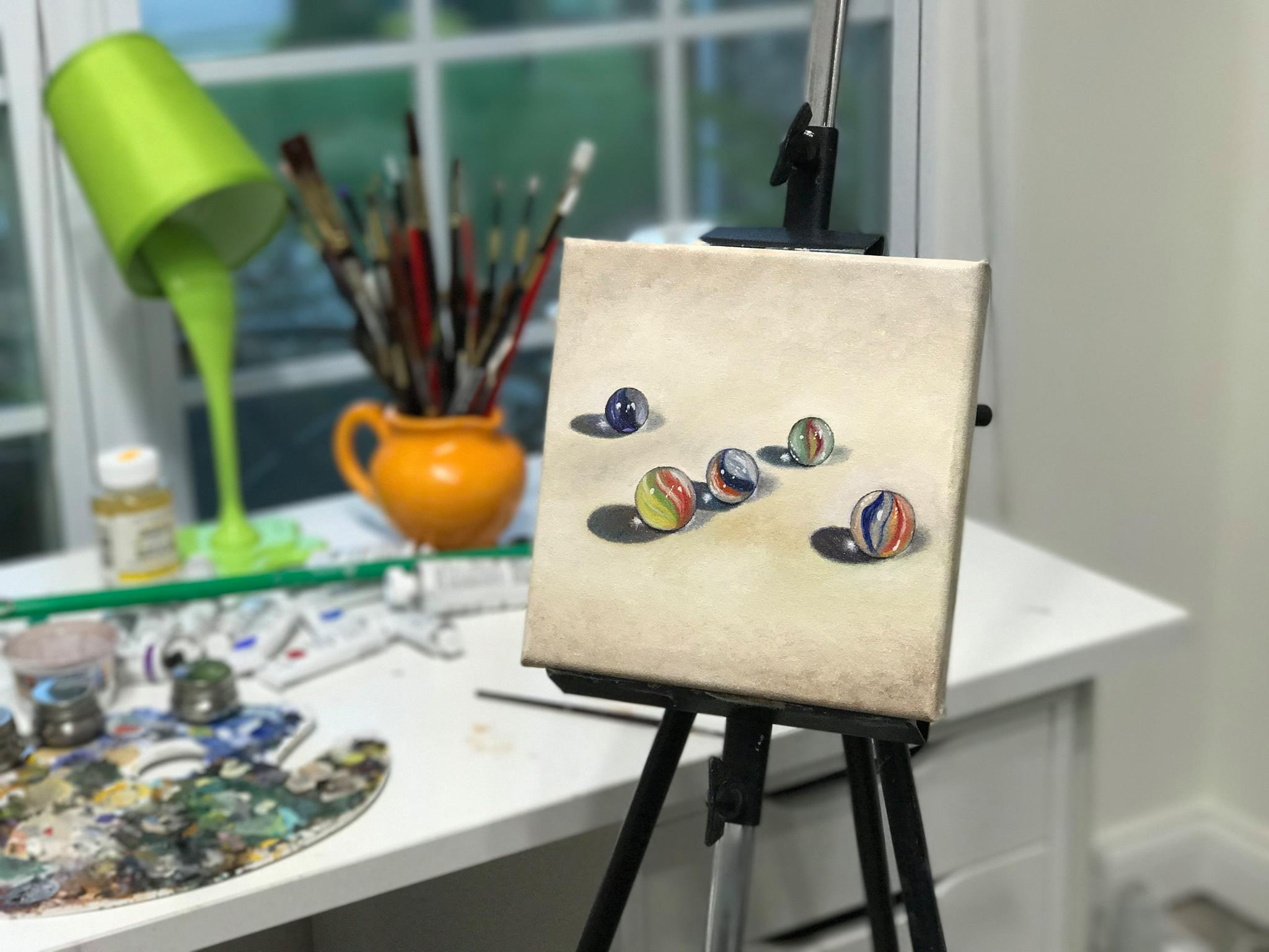 """The Marbles, 8""""x8"""" oil on canvas. Hopefully will go on display in Key West, Florida later this October!"""