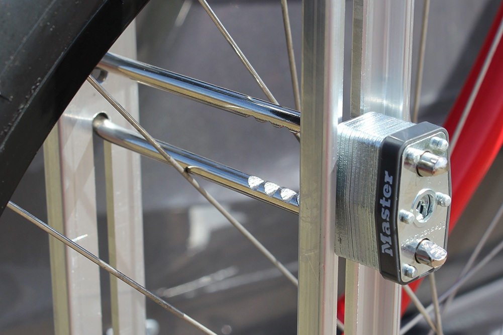 Quik Rack Mach 2  - Security options include locks that secure tires to the rack. Standard 1/4 inch dia. Long shank locks can be used - Picture #12