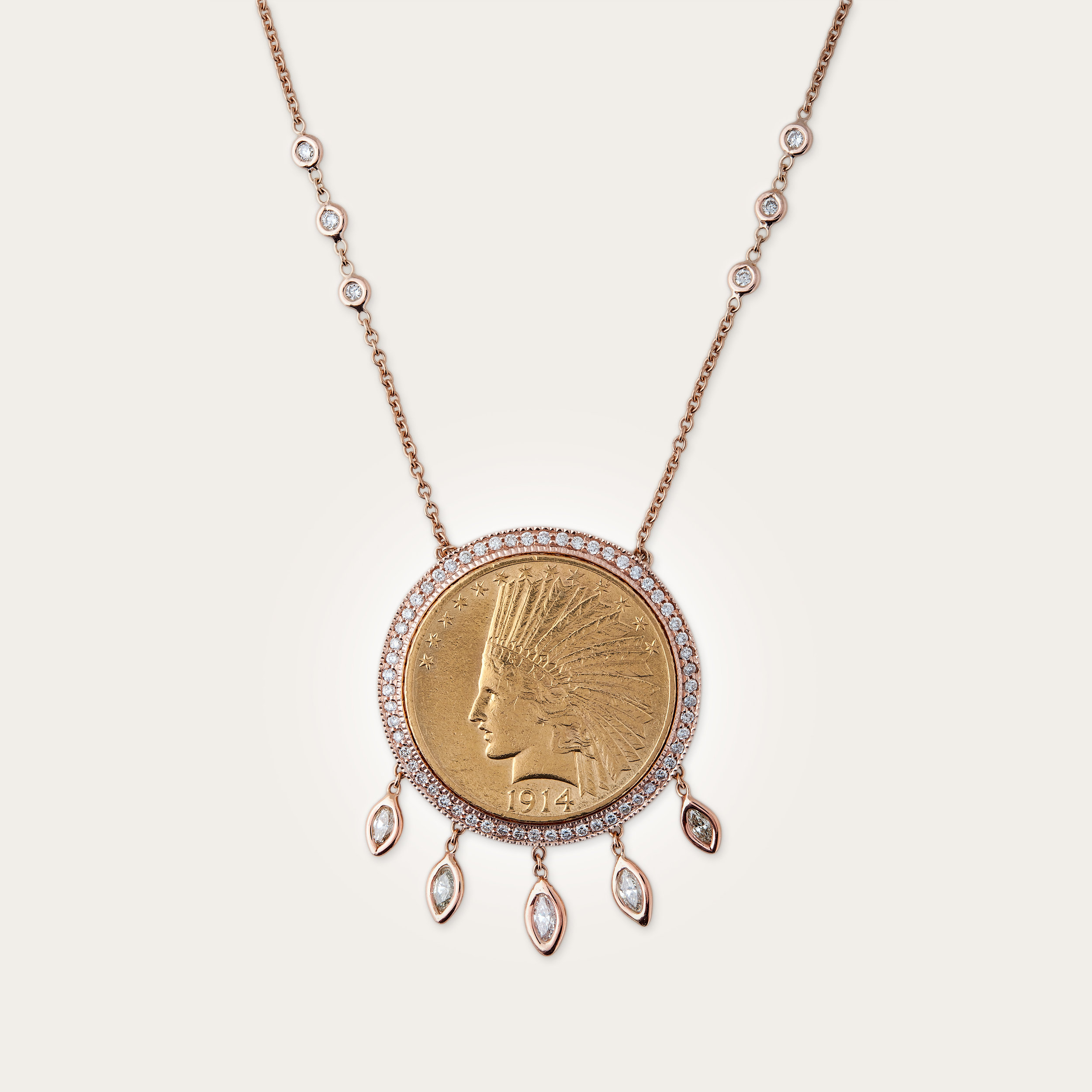 RG FULL PAVE 5 DIAMOND MARQUISE DROP ANTIQUE COIN NECKLACE 2.jpg