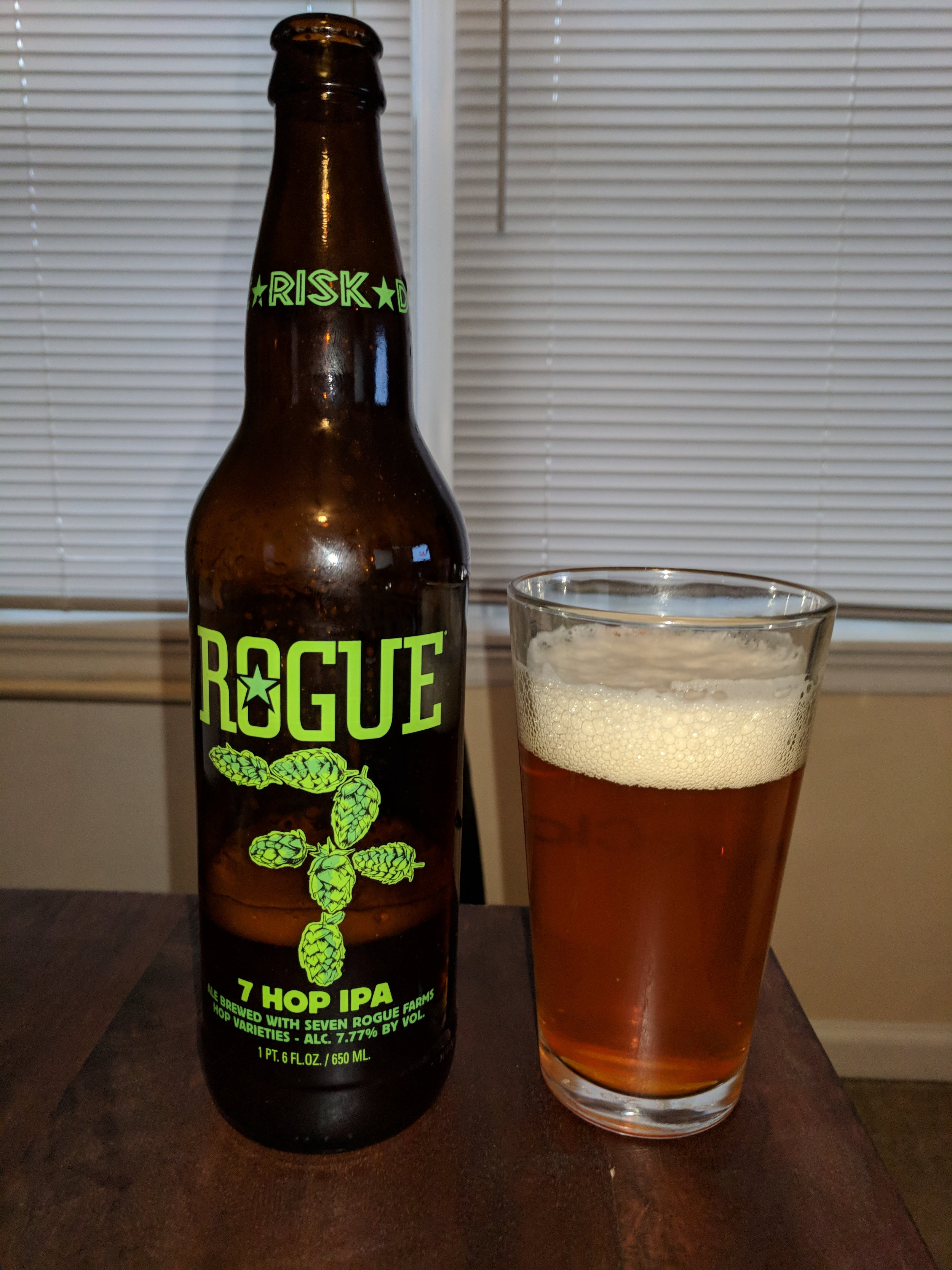 7 Hop IPA - Rogue Brewing Company makes many great IPAs, and we tasted this one on Episode 19.  Their 7 Hop IPA is a decent example, particularly with 7 different types of hops!  This gives the beer a robust flavor profile that is hop forward.  Surprisingly though, the bitterness is kept at bay compared to other beers that have this hop profile.  It has some definitive malty characteristics, as you can see from the impressive head.  I would say this is a very standard IPA, that may be a bit forward in hop flavor/aroma, but the bitterness reminds both Nick and I of a session IPA.  Dylan and Scott both could drink it, but still not one of their favorites.