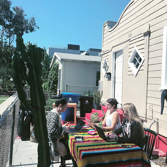 When you get back from a conference and your team moves the table outside to work and tan at the same time... #womenmultitaskwell #startuplife #LAlife #whyhasntthishappenedsooner