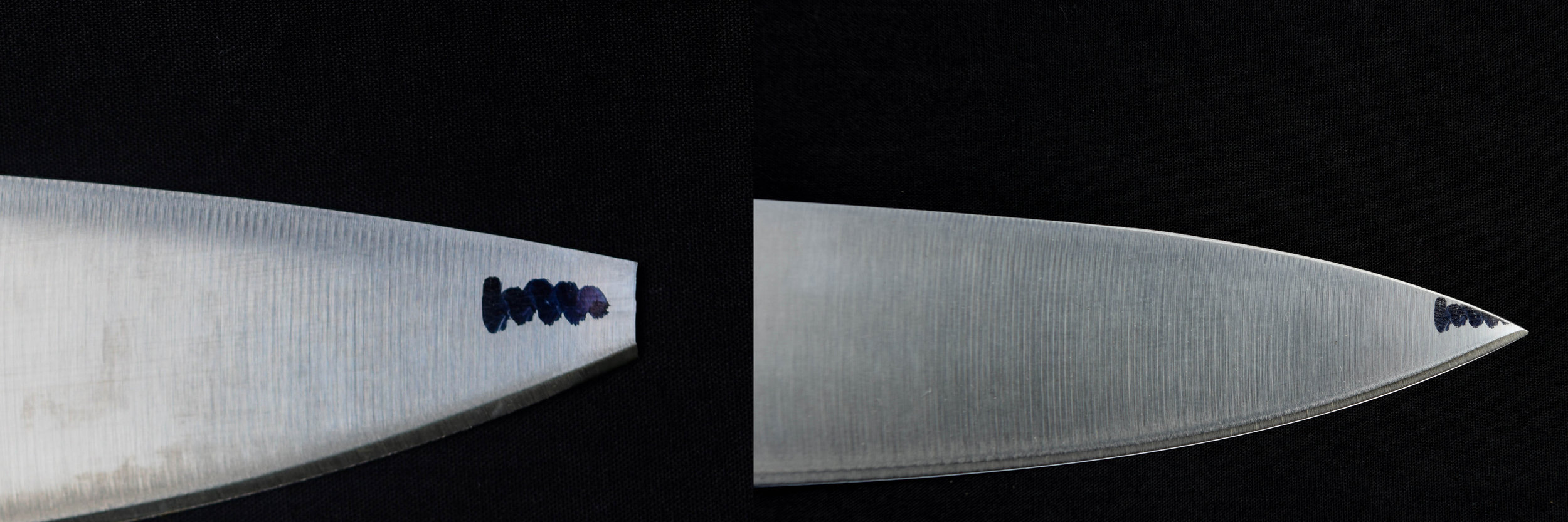 Repairing the broken tip on a kitchen knife. this is achieved by removing material mostly from the spine (top -edge) of the blade in order to preserve the thinner material on the cutting edge.