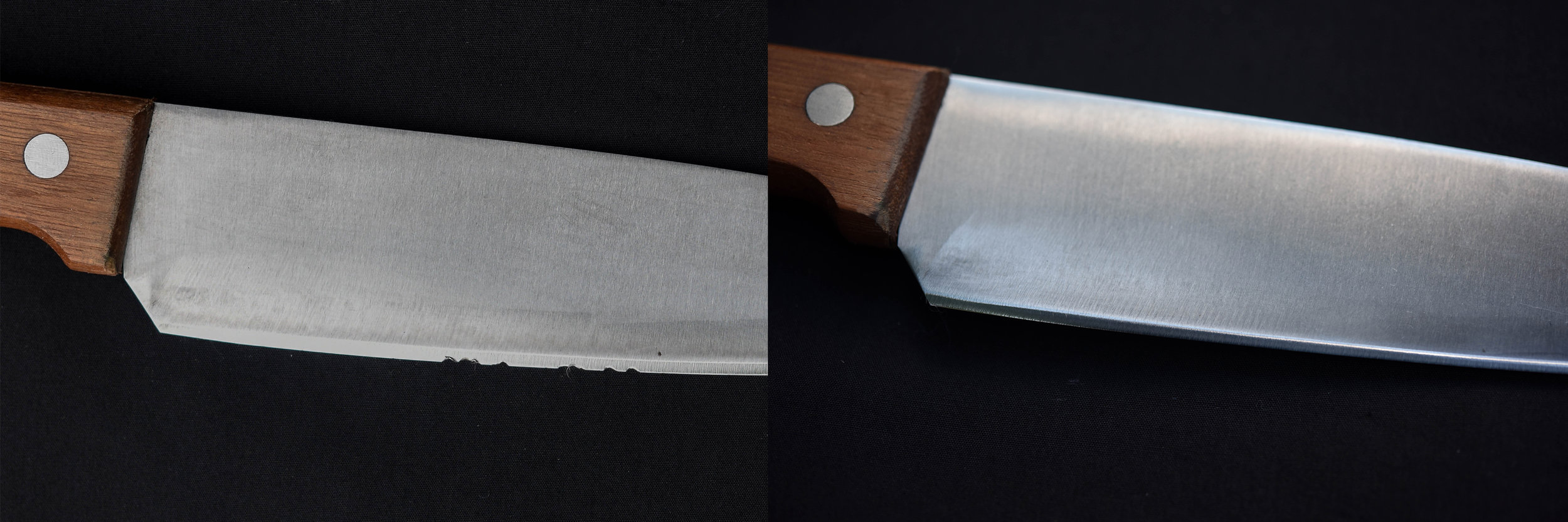 Before and after. The knife on the left is badly chipped on the cutting edge. On the right, it has been repaired.