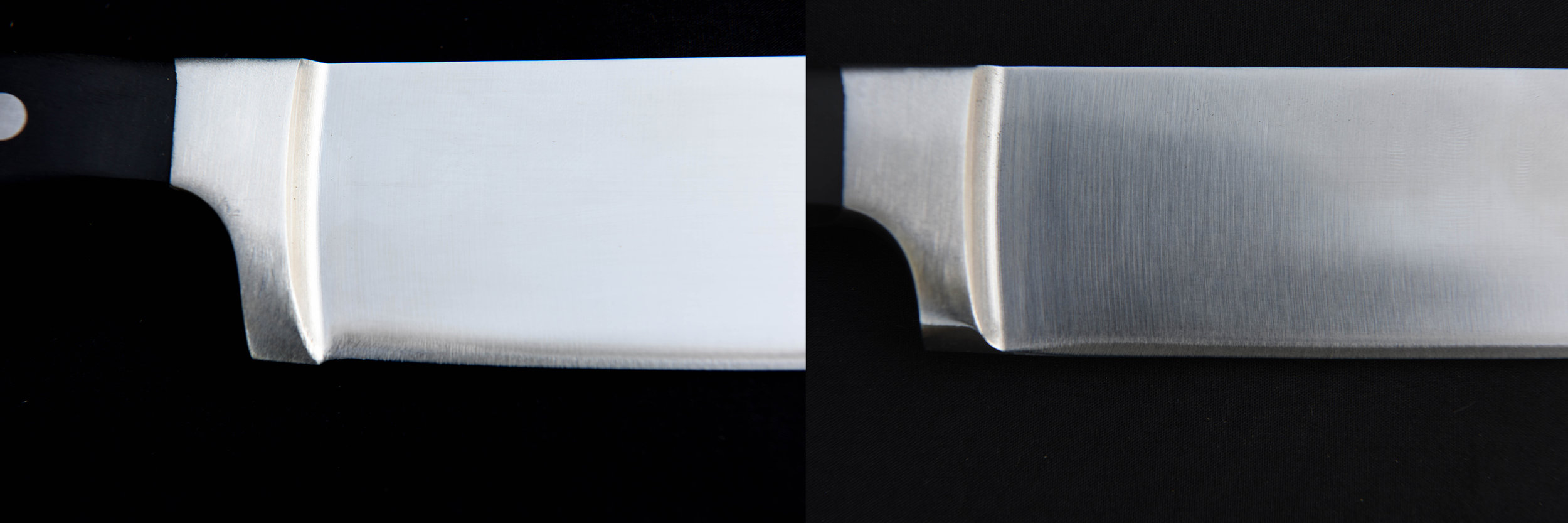 The knife on the left has what we call a reverse bow; It is a little hard to see and in many cases it is much more drastic. if you look at the section of the blade just to the front of the thick vertical bolster, you will notice that the cutting edge is a little higher than the bottom edge of the bolster and cannot cut as it will not make contact with the cutting surface. In the image on the right, the knife has been repaired by carefully removing some of the material on the bolster and re-profiling the geometry of the cutting edge.