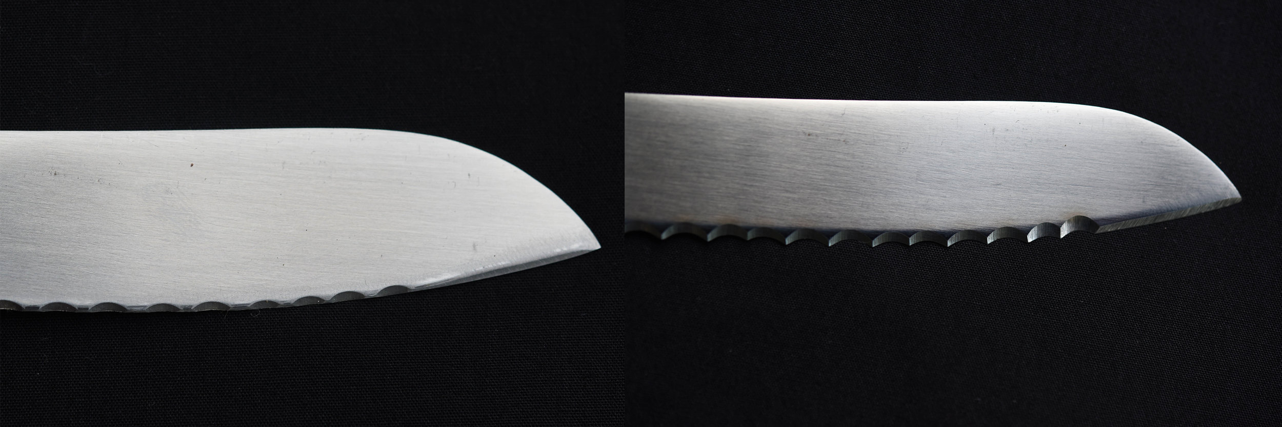 A before and after shot of a serrated bread knife. In the left image the serrations are almost completely gone due to extensive use. In the image to the right the serrations have been re-cut by hand on our diamond wheel. The knife is now as good as, if not better than new.