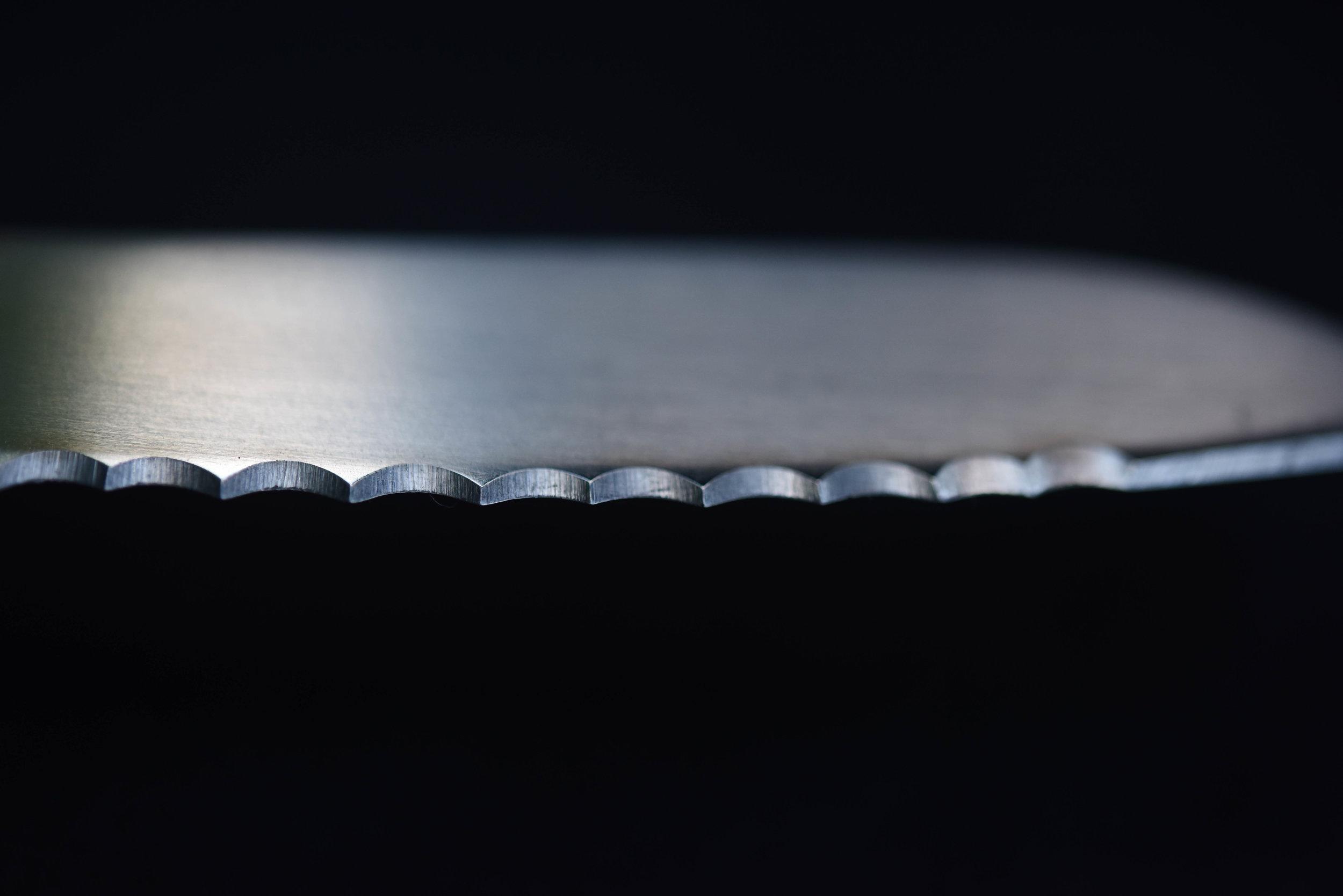 A close up of newly cut serrations