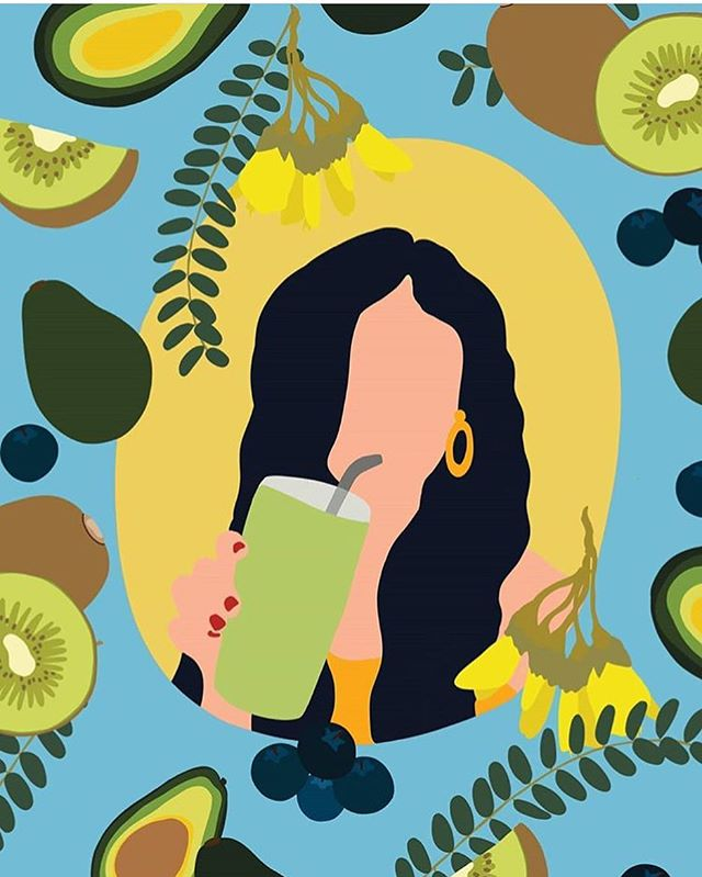 A little bit of a different style for me! I'm always up for trying something new. This was a fun commission for the new issue of @ourplacemagazine about the latest trends, innovations and research in the beauty industry. A more holistic approach to skin health 🌿✨🍐🥑🥝