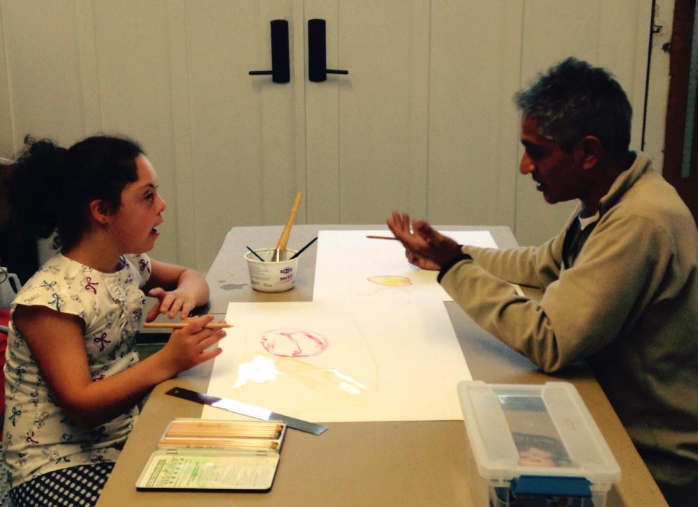 Sophia creating art with cousin Edwardo Pineda, a well-known muralist, in his studio in Berkeley, CA