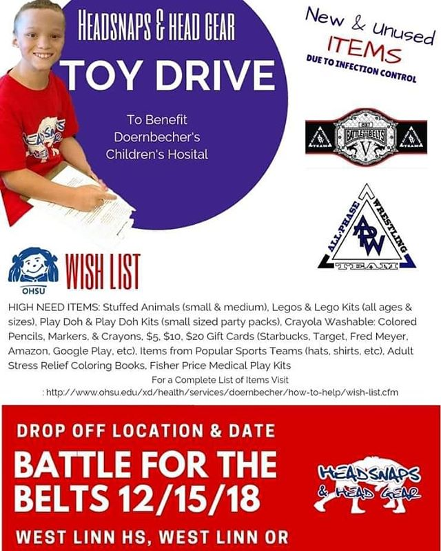 Many of our wrestling family is heading to the Battle of the Belts this weekend and we have a great opportunity to show our support to Dornbeckers Children Hospital.  Reach out with any questions or donations if not attending the event.