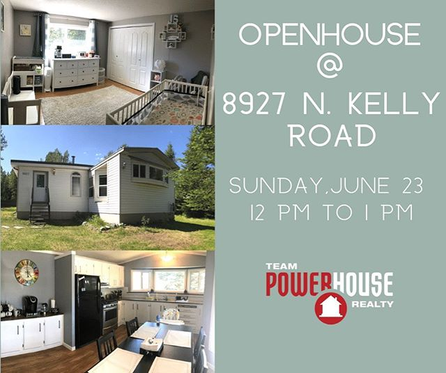 OPEN-HOUSE June 23rd from 12 to 1 @ 8927 North Kelly road. Perfect for a first time buyer, or retiree, tons of room for toys inside and out! This lovely renovated mobile with an open floor plan with 3 large bedrooms, 1 1/2 bathrooms all in a 1 acre lot inside city limits.🏡 #openhouse #mobilehomesforsale #princegeorgebc #hart #powerhouselisting