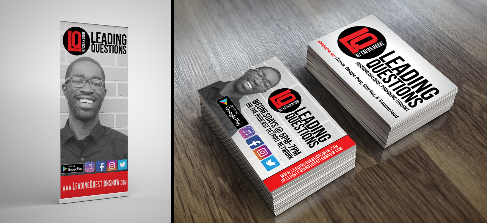 Leading Question w/ Calvin Moore - Business Card & Stand Up Banner Designs