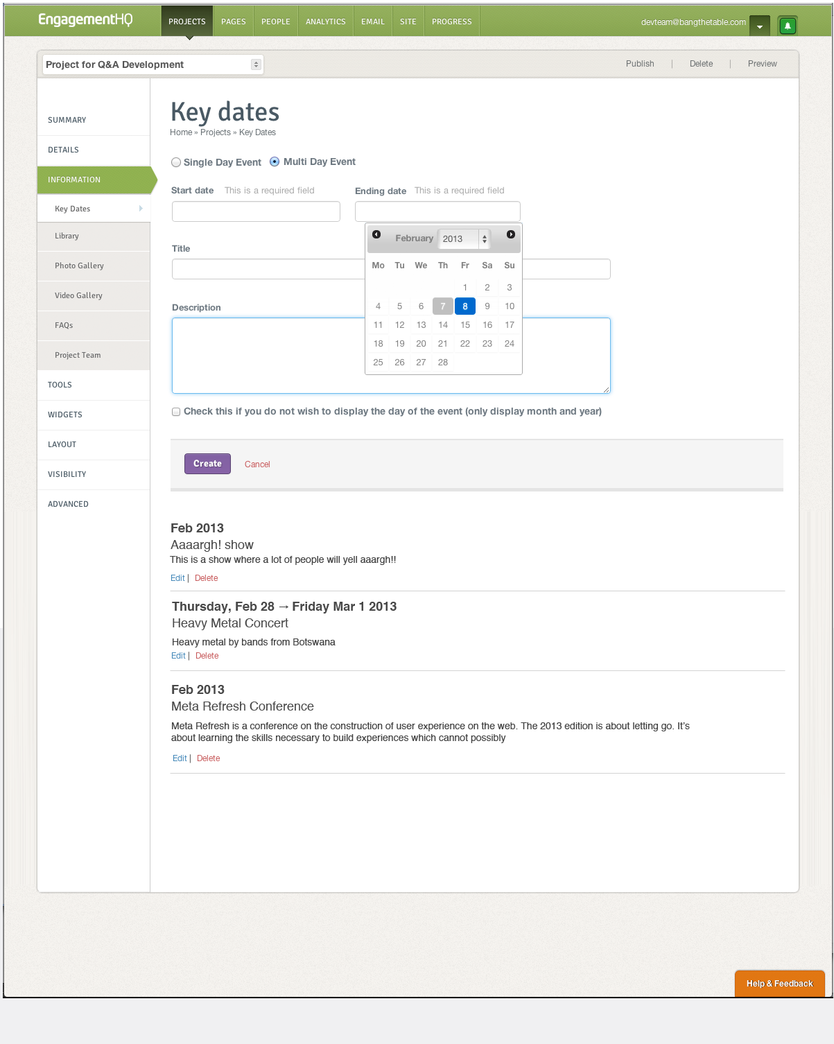 EHQ Admin - ADDING AN ENTRY IN THE KEY DATES TOOL
