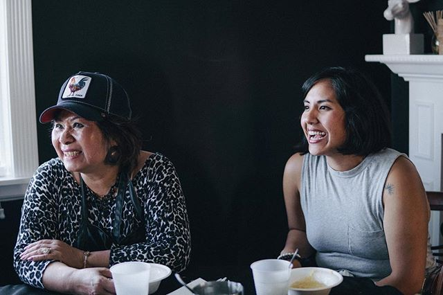 Cat Vu and Yenvy Pham, owners and chefs of Pho Bac, sharing stories around the dinner table. #xoiconnected #stayhungry