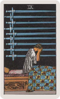 9 of swords, where the blanket is filled with astrological symbols