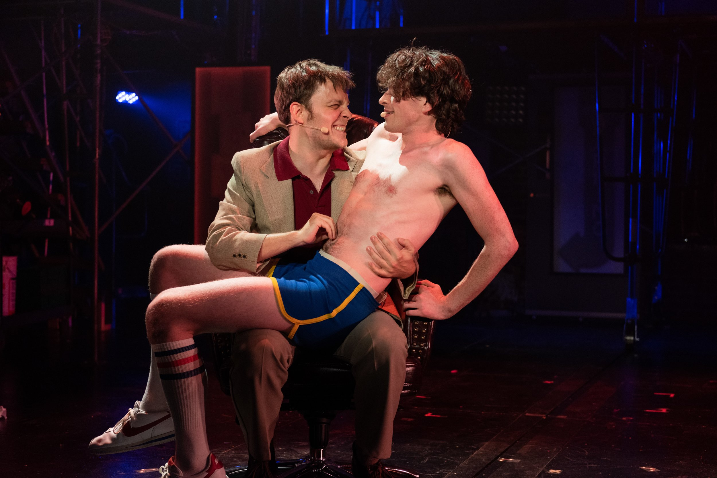 (l-r) Theo Stockman as Steve Rubell and Peter LaPrade as Chad. Photo Credit: Ben Arons