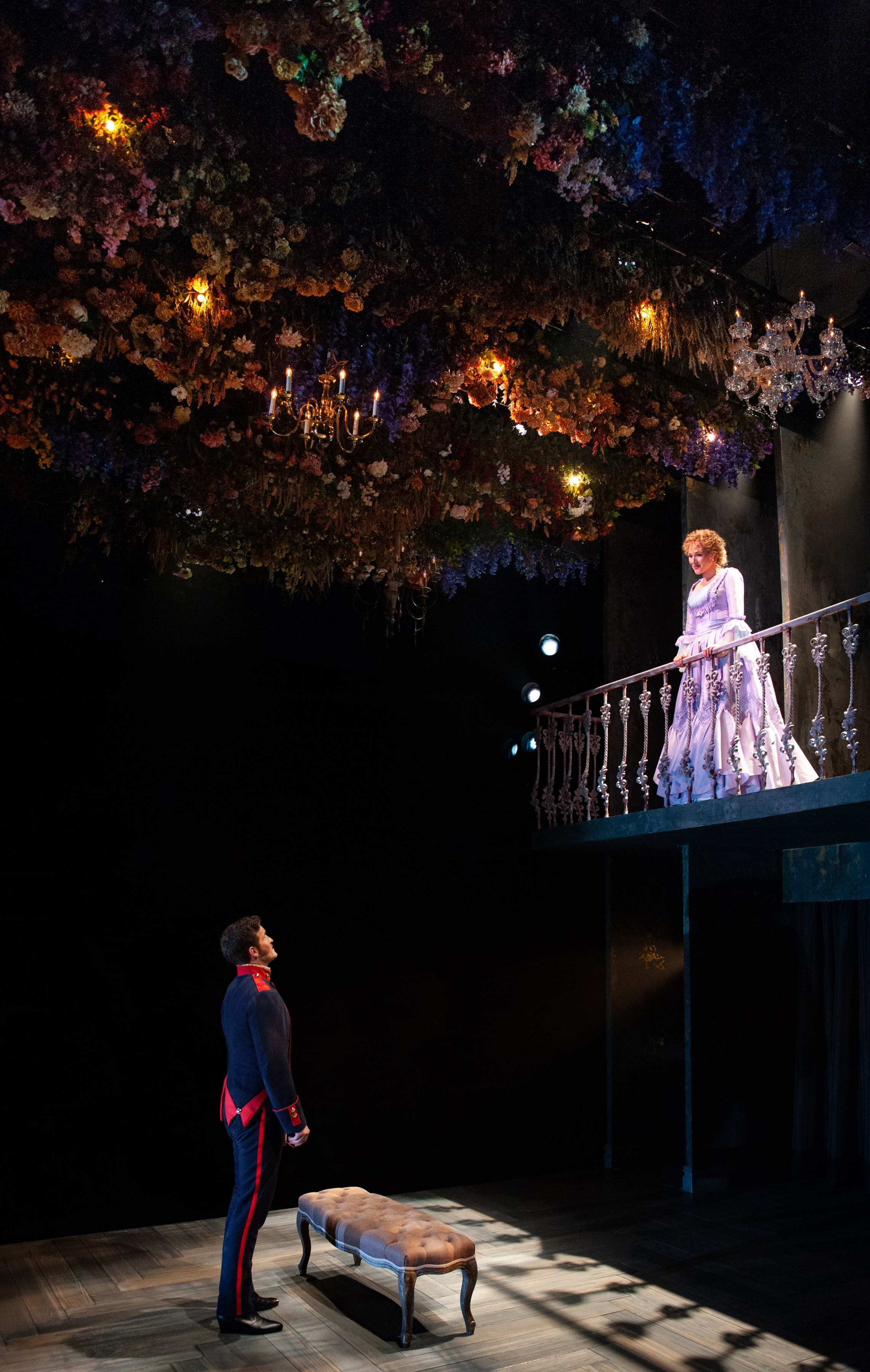 Claybourne Elder (Giorgio) and Steffanie Leigh (Clara) in  Passion  at Signature Theatre. Photo by Margot Schulman.