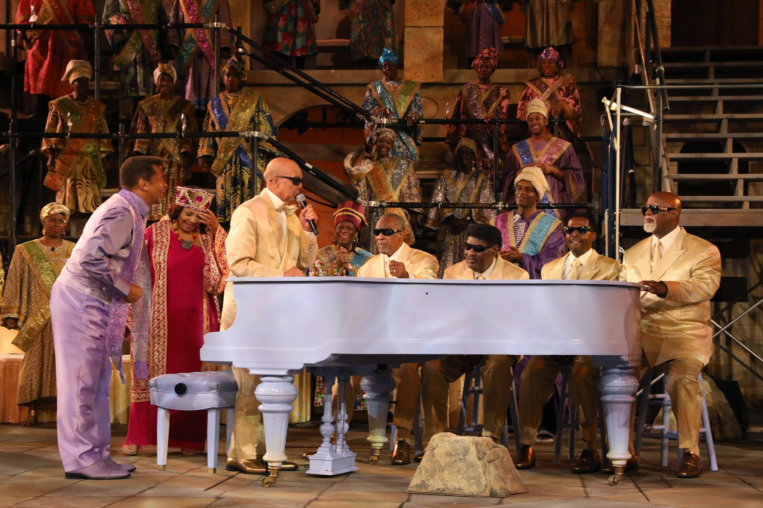 """The Blind Boys of Alabama and the company of """"The Gospel at Colonus"""". Photo credit: Joan Marcus."""
