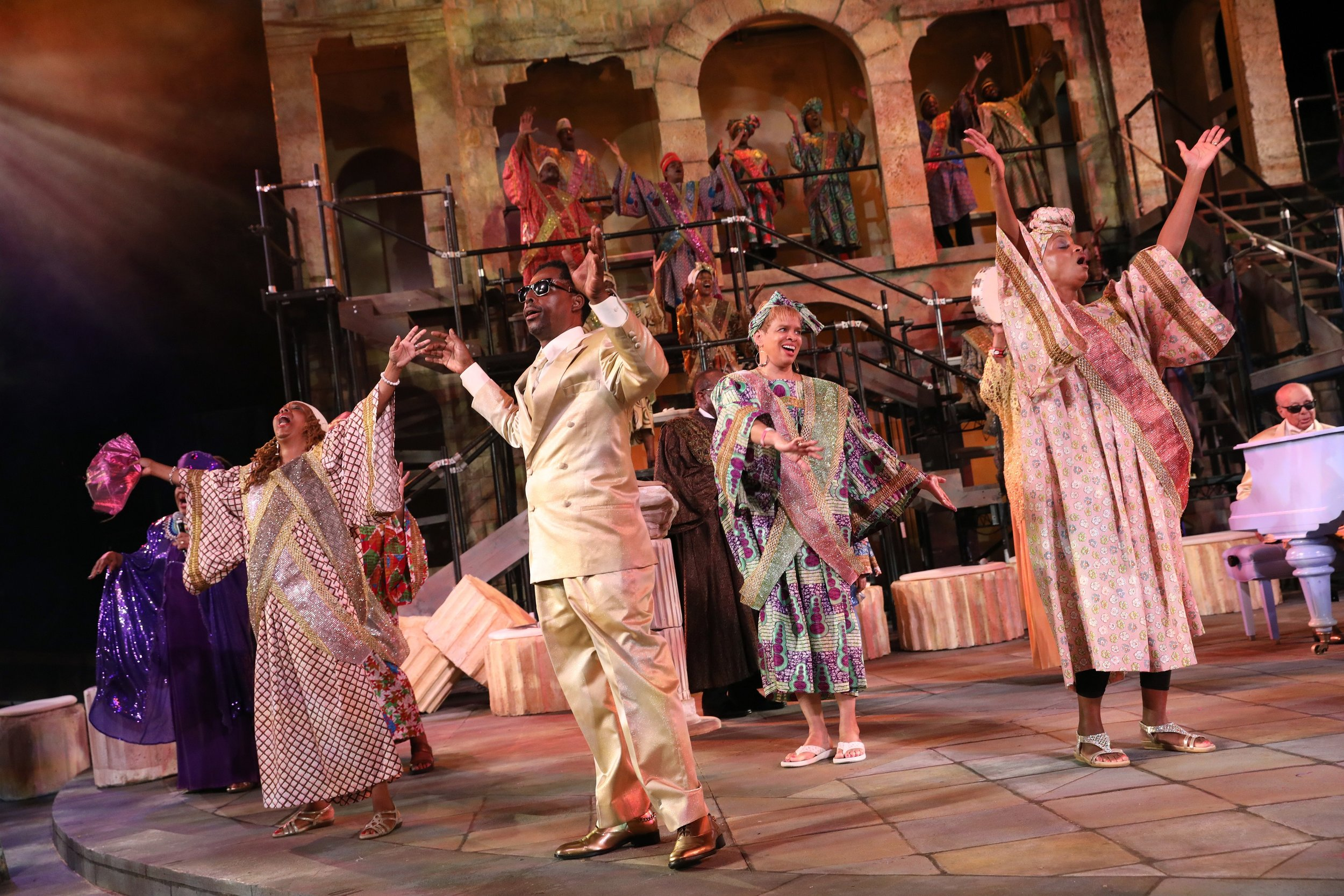 """The company of """"The Gospel at Colonus"""". Photo credit: Joan Marcus."""