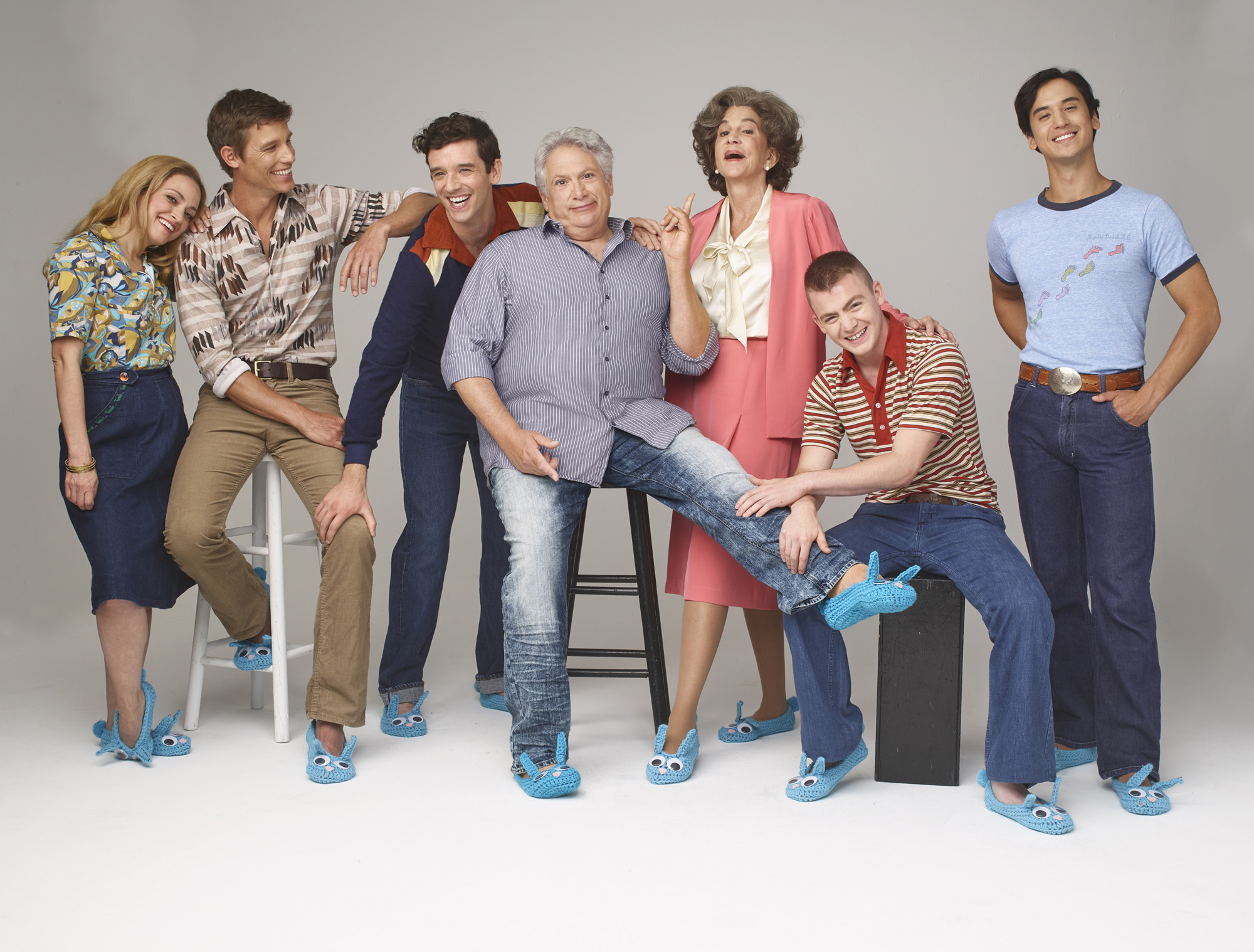 Roxanna Hope Radja, Ward Horton, Michael Urie, Harvey Fierstein, Mercedes Ruehl, Jack DiFalco, and Michael Hsu Rosen. Photo Credit: Andrew Eccles.