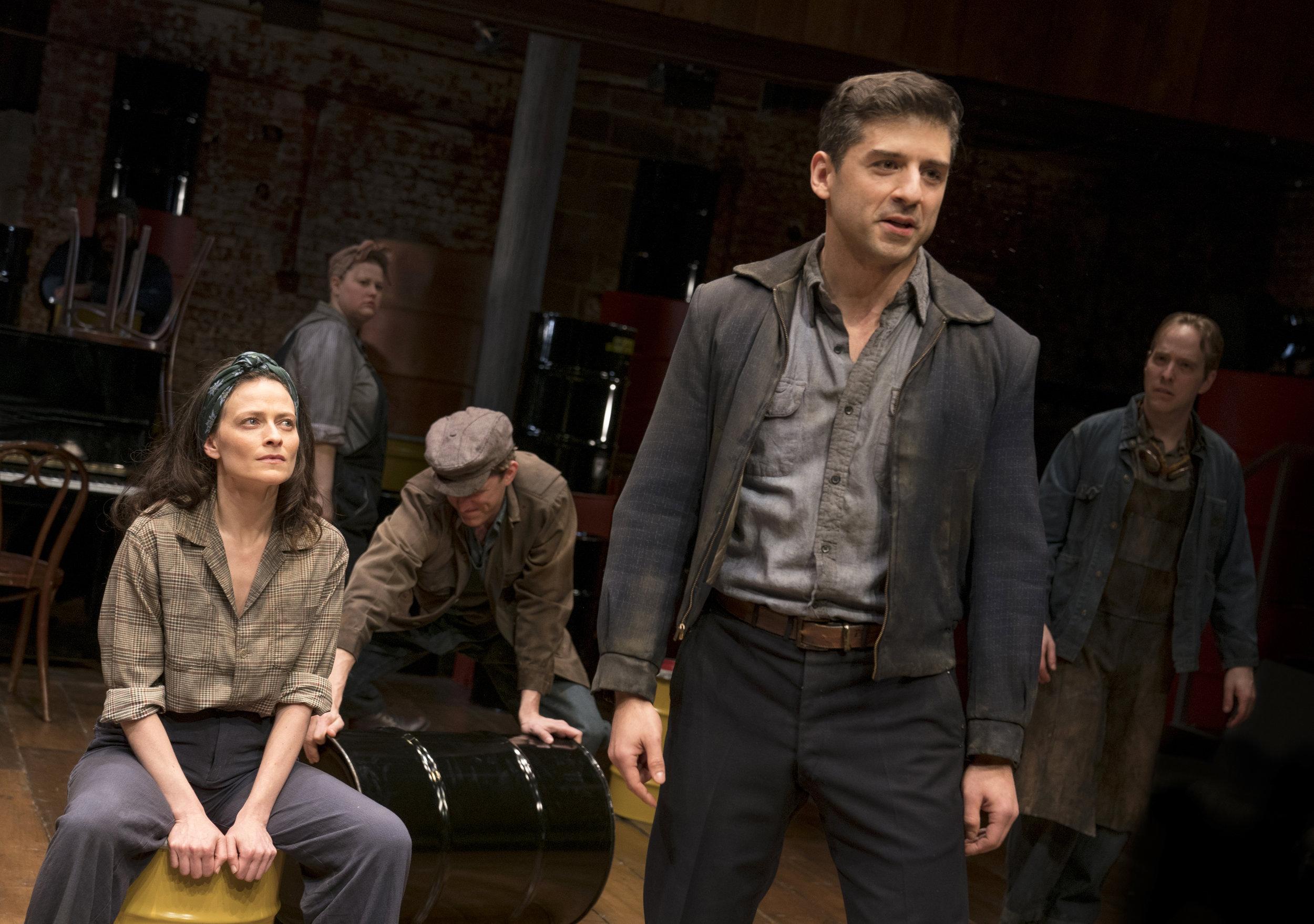 """Lara Pulver, Kara Mikula, Benjamin Eakeley, Tony Yazbeck, and Ian Lowe in """"The Cradle Will Rock"""". Photo Credit: Joan Marcus"""