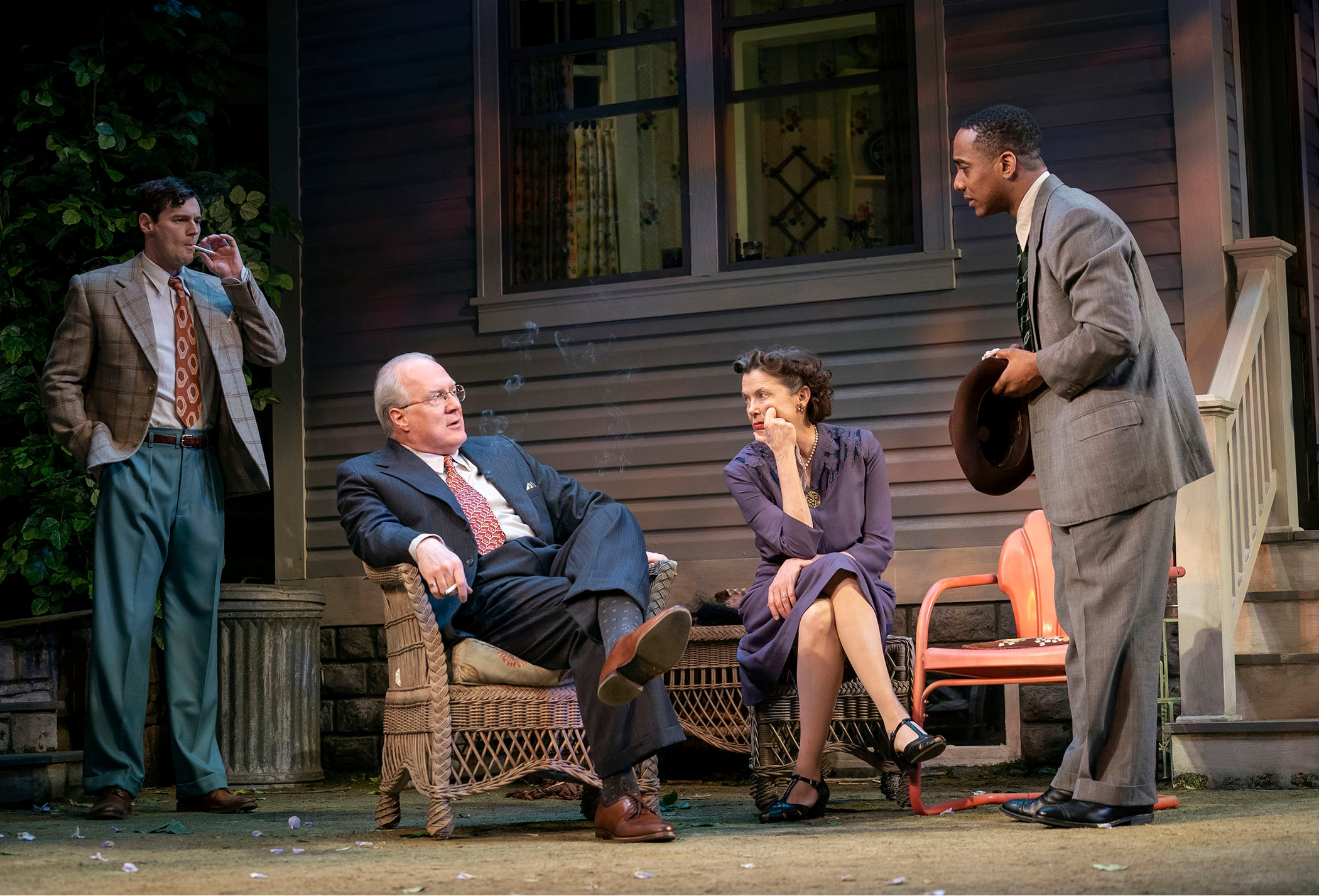 "Benjamin Walker, Tracy Letts, Annette Bening, and Hampton Fluker in ""All My Sons"". Photo Credit: Joan Marcus."