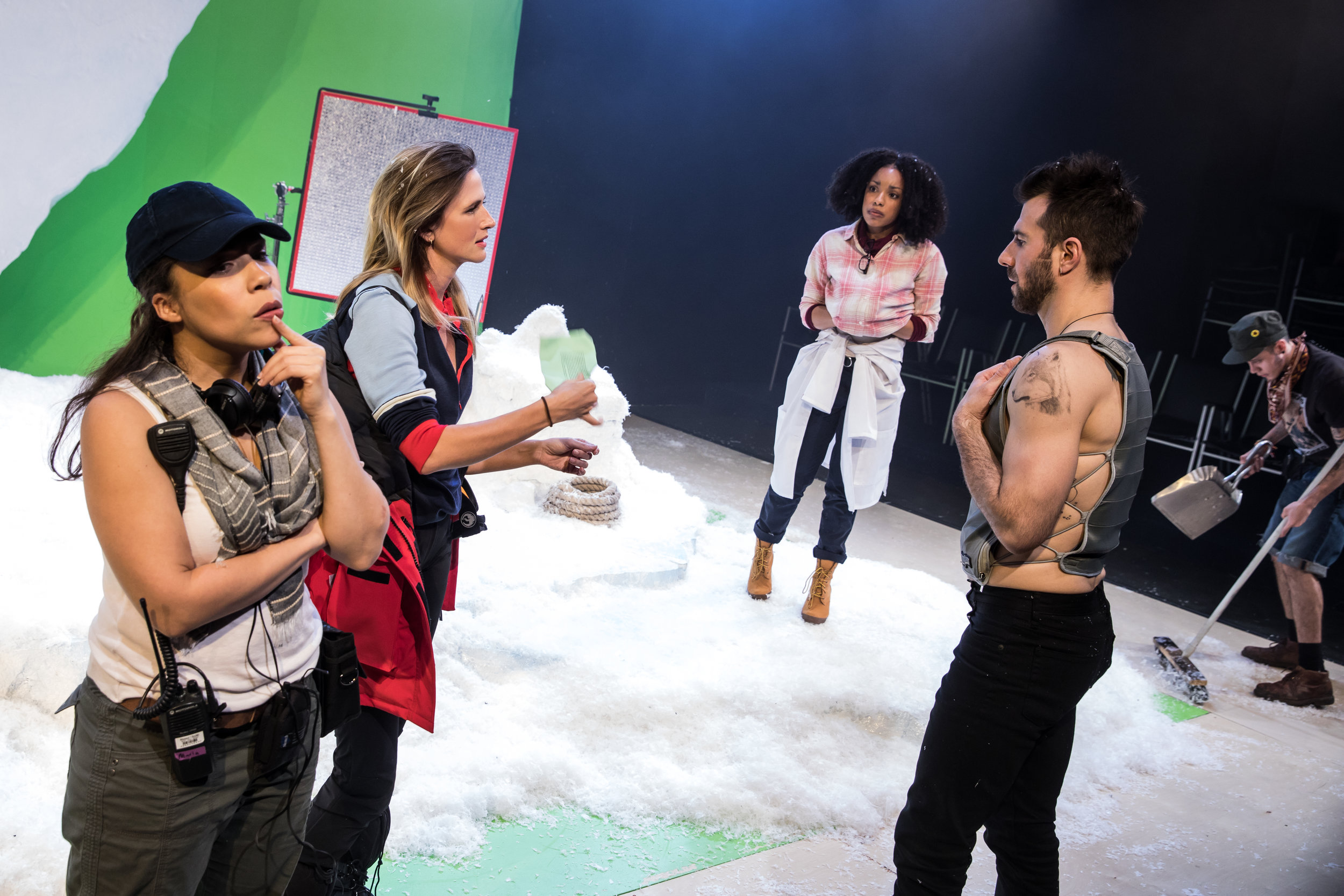 "Rosal Colón, Megan Ketch, Jasmine Batchelor, Alex Hurt, and Garcia in ""Continuity"". Photo Credit: Matthew Murphy"