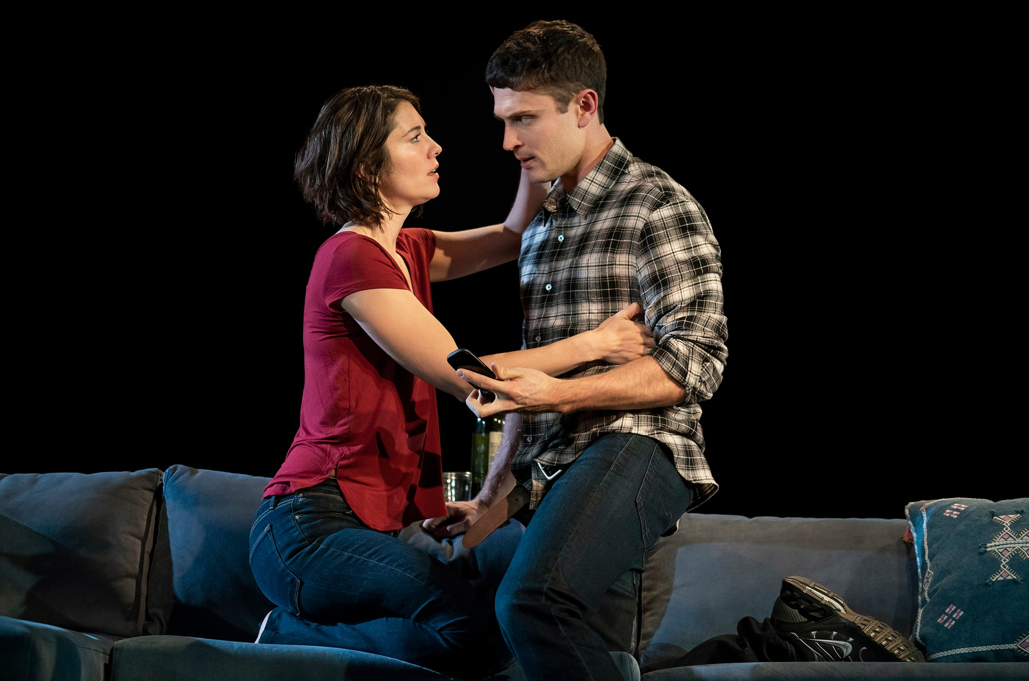 "Mary Elizabeth Winstead and Colin Woodell in ""Dying City"". Photo Credit: Joan Marcus"