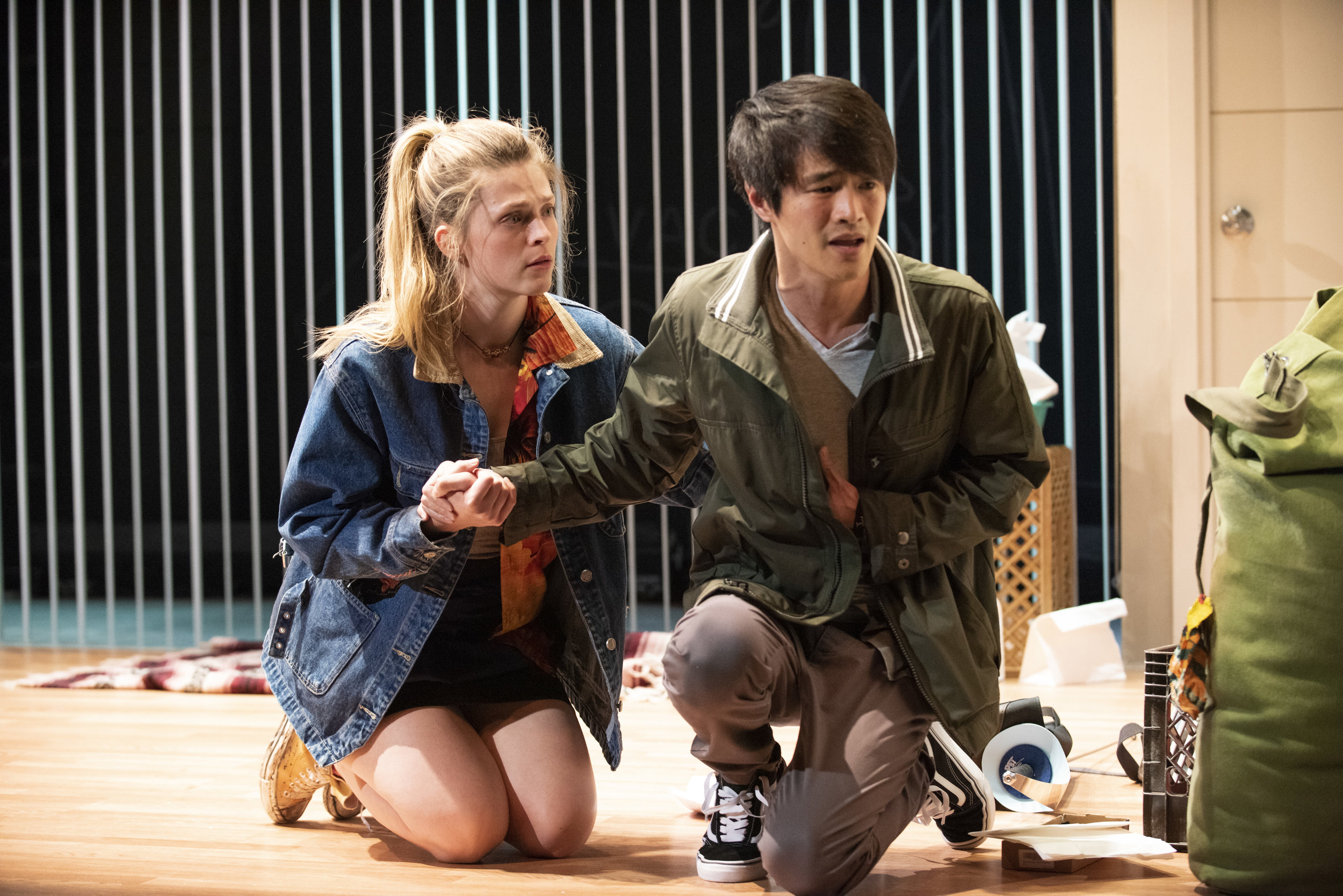 "Molly Griggs and Christopher Larkin in ""Nomad Motel"". Photo Credit: Ahron R. Foster"