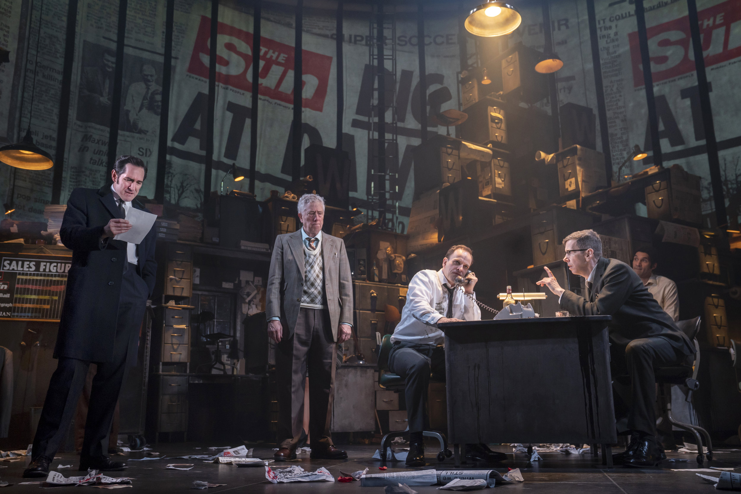 "Bertie Carvel, Bill Buell, Jonny Lee Miller, Robert Stanton, Eden Marryshow in ""Ink"". Photo Credit: Joan Marcus."