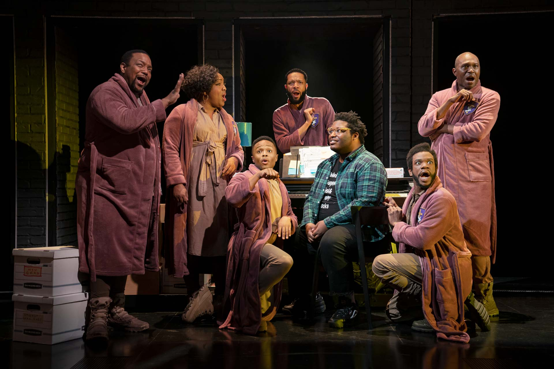 Usher (Larry Owens) surrounded by his thoughts (L Morgan Lee, James Jackson Jr., John-Michael Lyles, John-Andrew Morrison, Jason Veasey and Antwayn Hopper). Photo Credit: Joan Marcus.