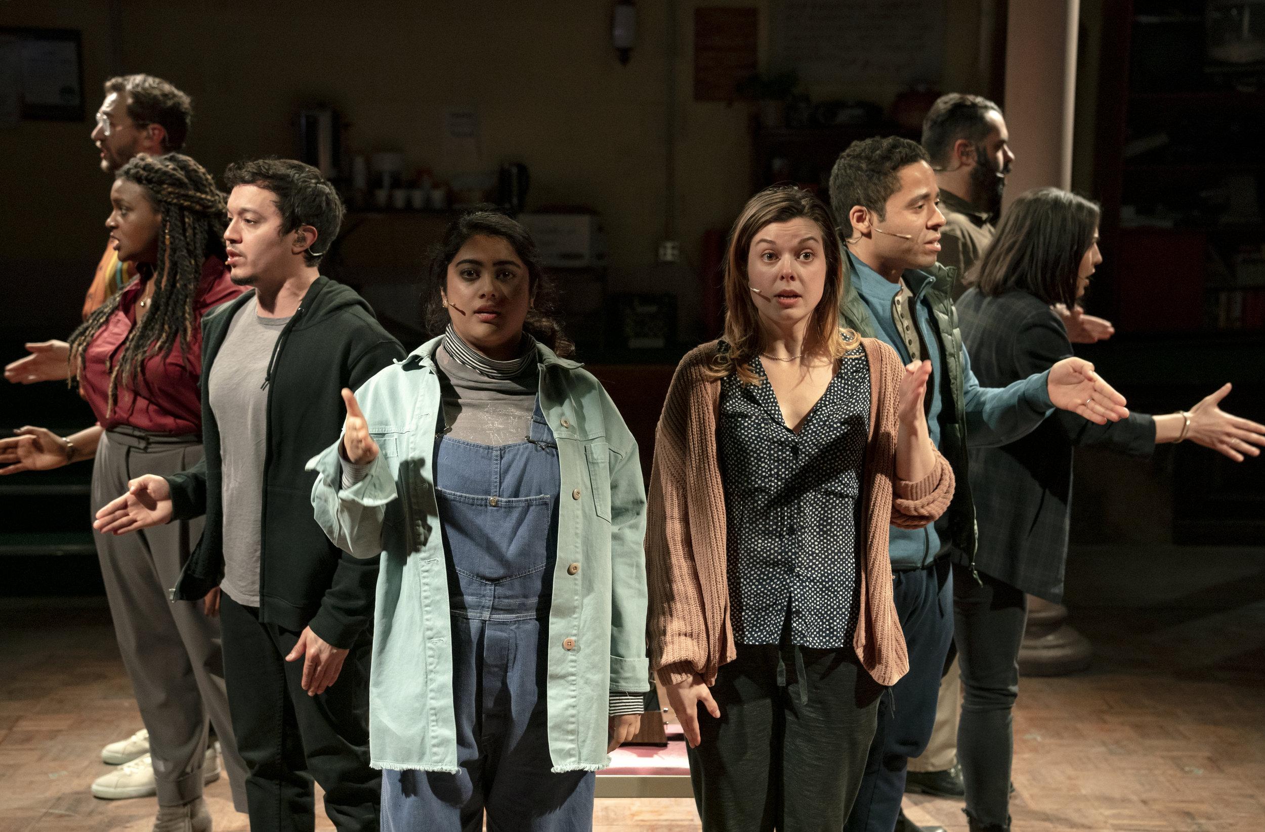 "The cast of ""Octet"" (Alex Gibson, Starr Busby, Justin Gregory Lopez, Kuhoo Verma, Margo Seibert, J.D. Mollison, Kim Blanck, Adam Bashian). Photo Credit: Joan Marcus."