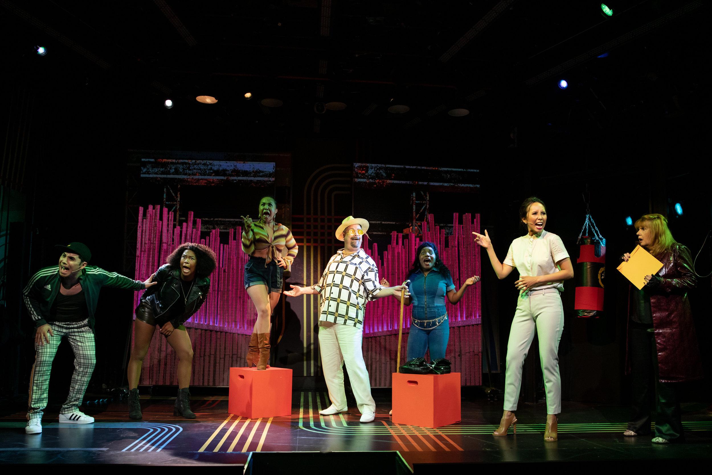 """The company of """"Broadway Bounty Hunter"""". Photo Credit: Matthew Murphy."""